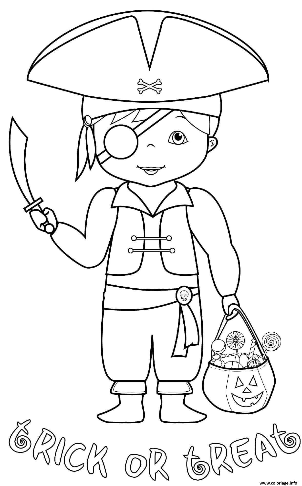 Dessin deguisement costume de pirate halloween avec des friandises Coloriage Gratuit à Imprimer