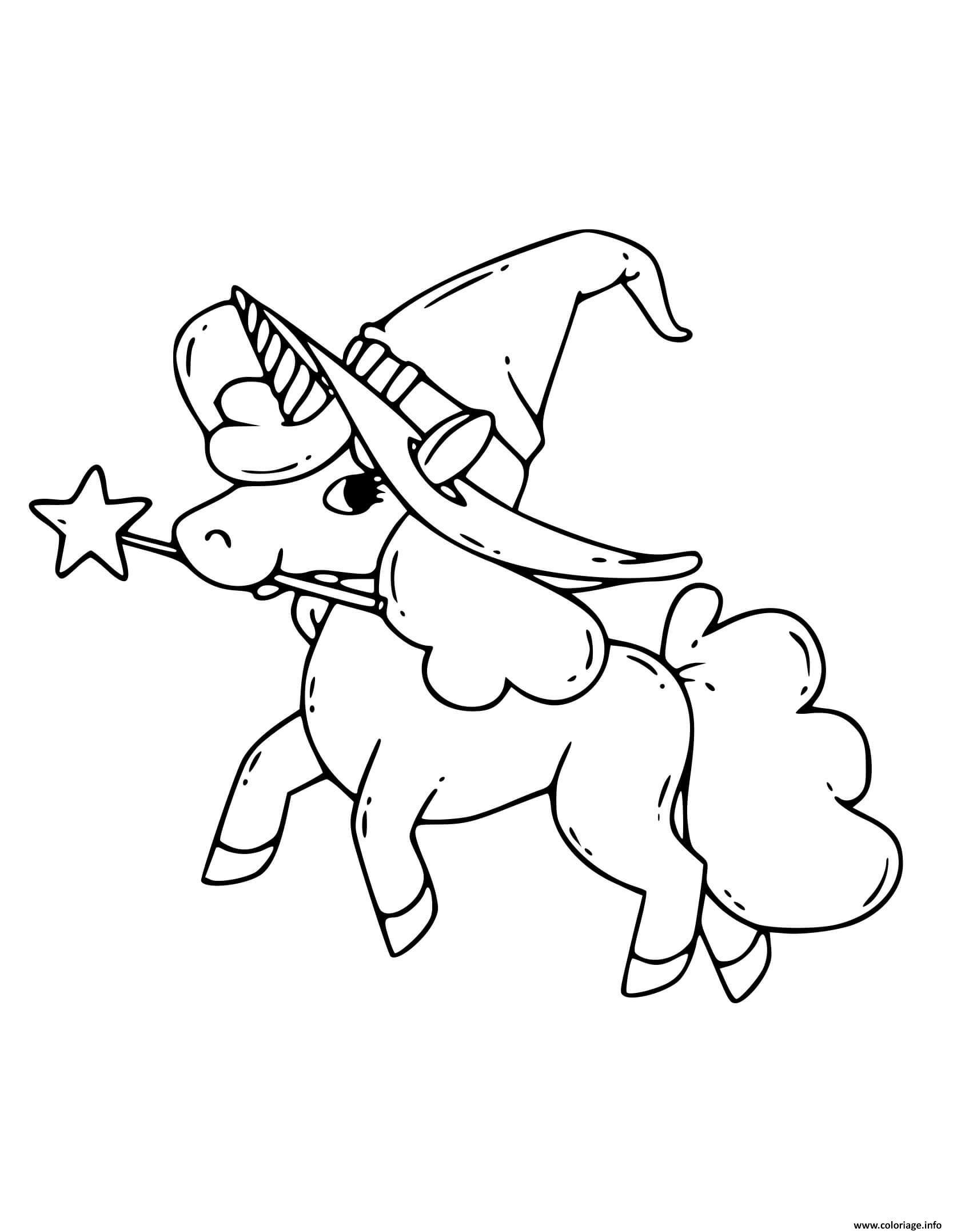Dessin licorne magique avec chapeau pour halloween Coloriage Gratuit à Imprimer