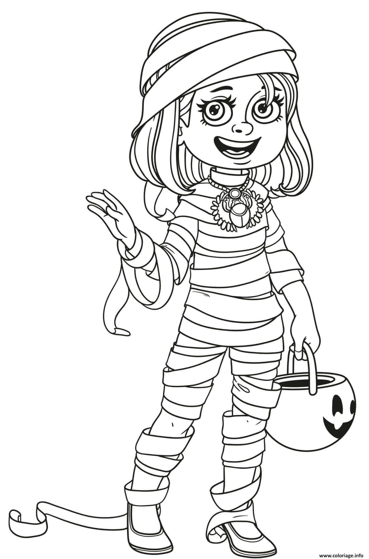 Dessin halloween fille en costume de momie Coloriage Gratuit à Imprimer