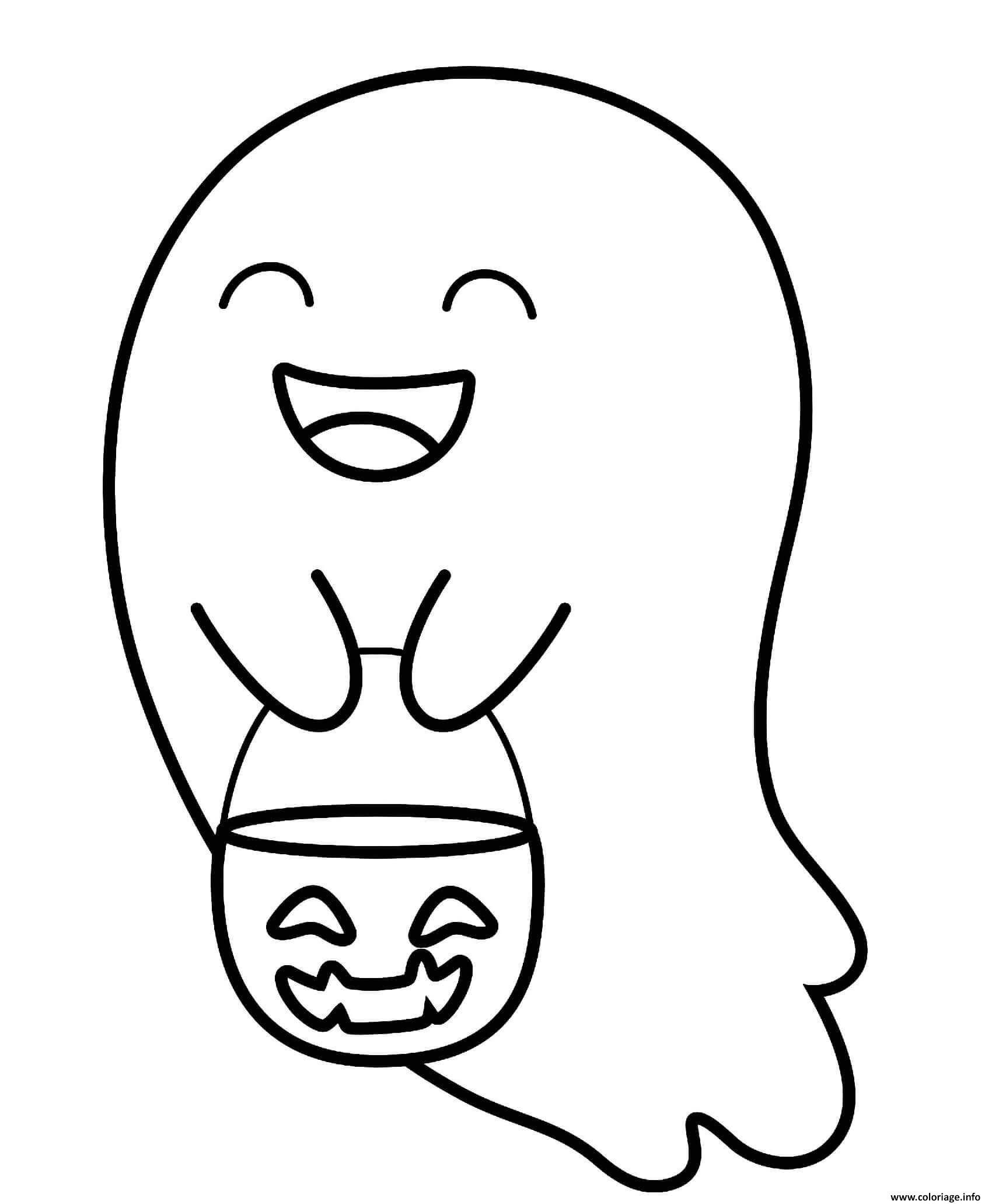 Dessin halloween fantome mignon Coloriage Gratuit à Imprimer