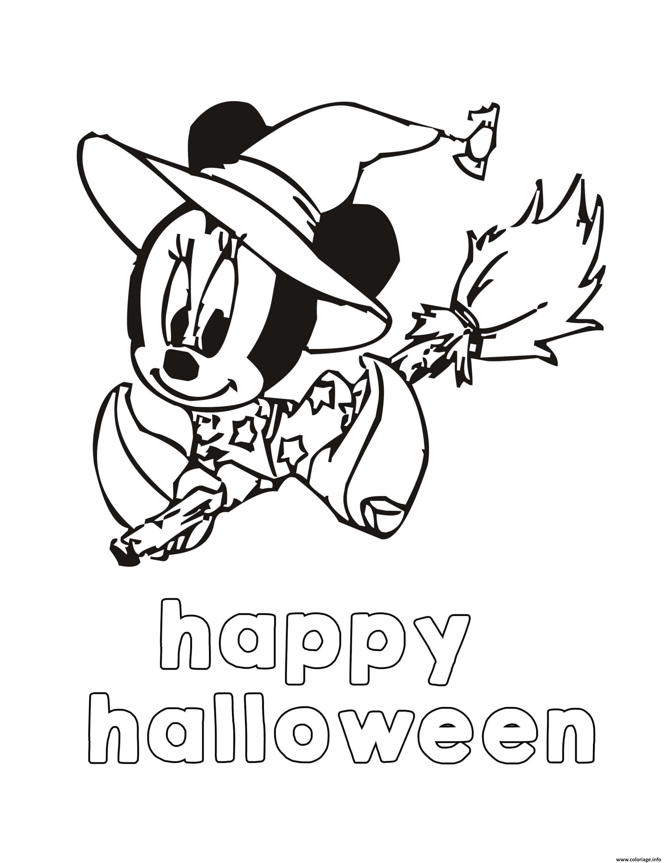 Dessin minie mouse happy halloween Coloriage Gratuit à Imprimer