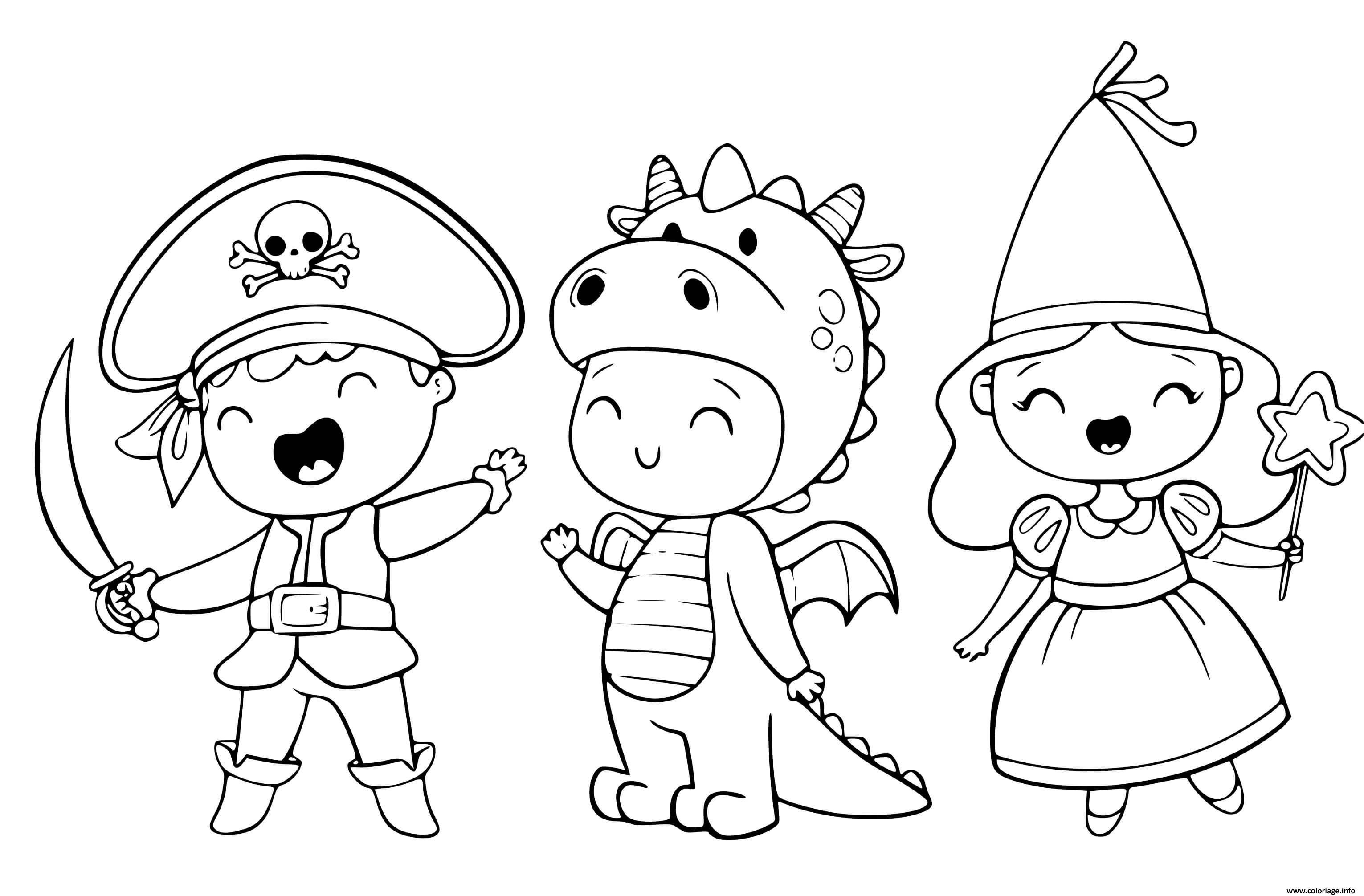 Dessin costume halloween pour enfants pirates dinosaure princesse Coloriage Gratuit à Imprimer