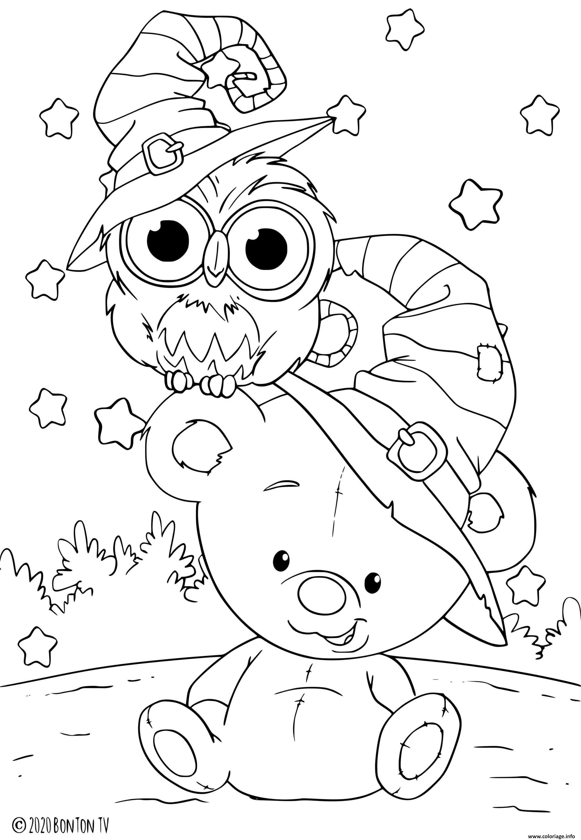 Dessin petit nounours pour halloween avec un hibou Coloriage Gratuit à Imprimer