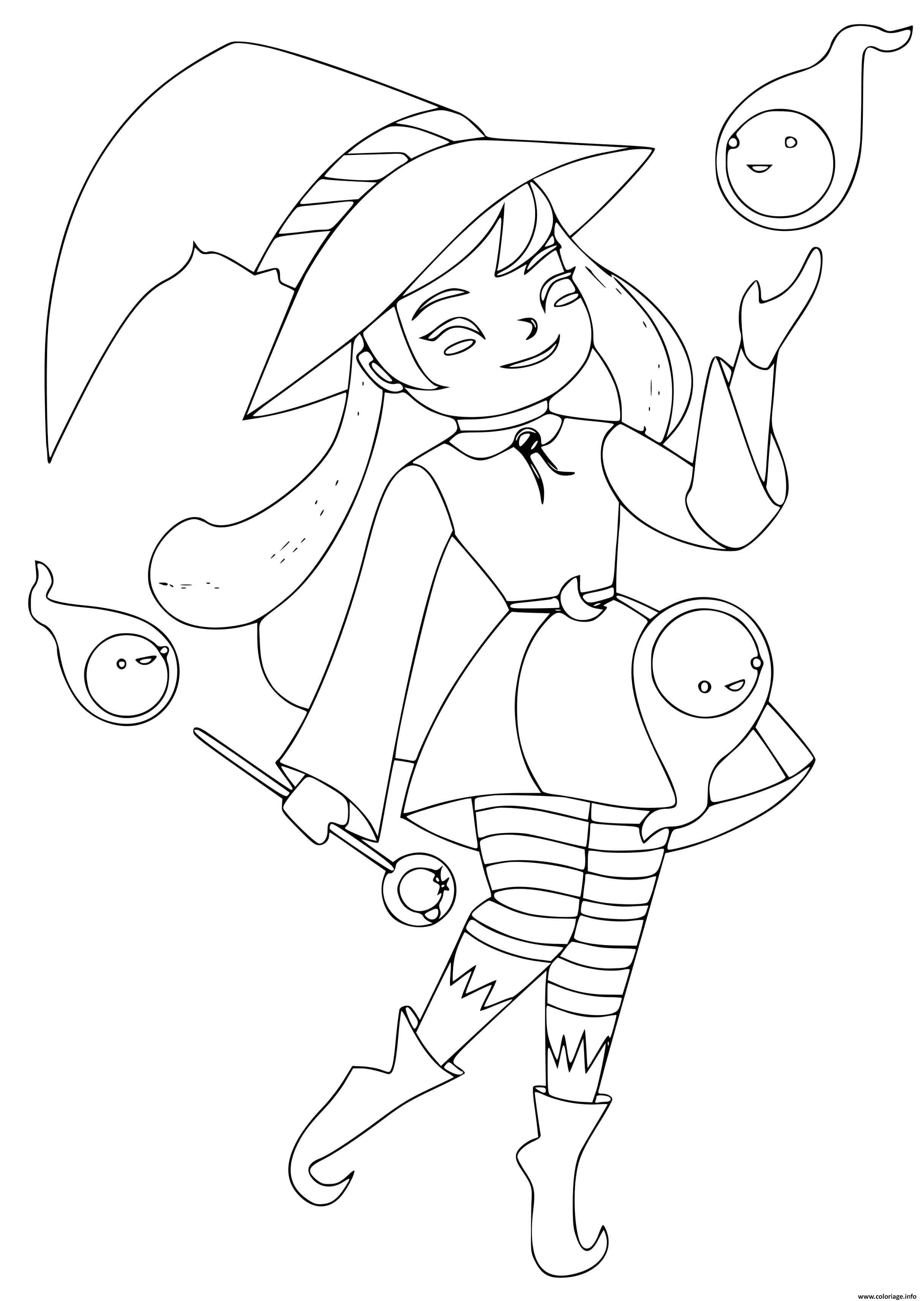 Dessin sorciere emblematique de la fete de halloween Coloriage Gratuit à Imprimer