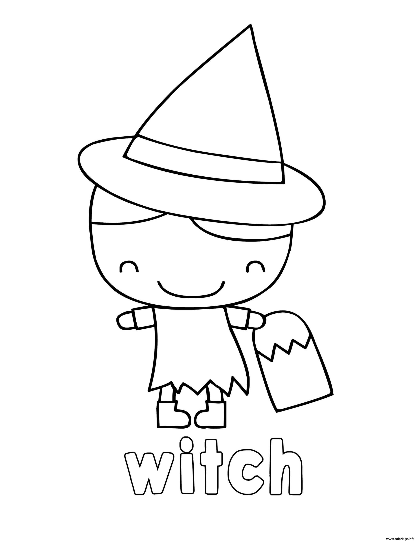 Dessin sorciere adorable enfant Coloriage Gratuit à Imprimer