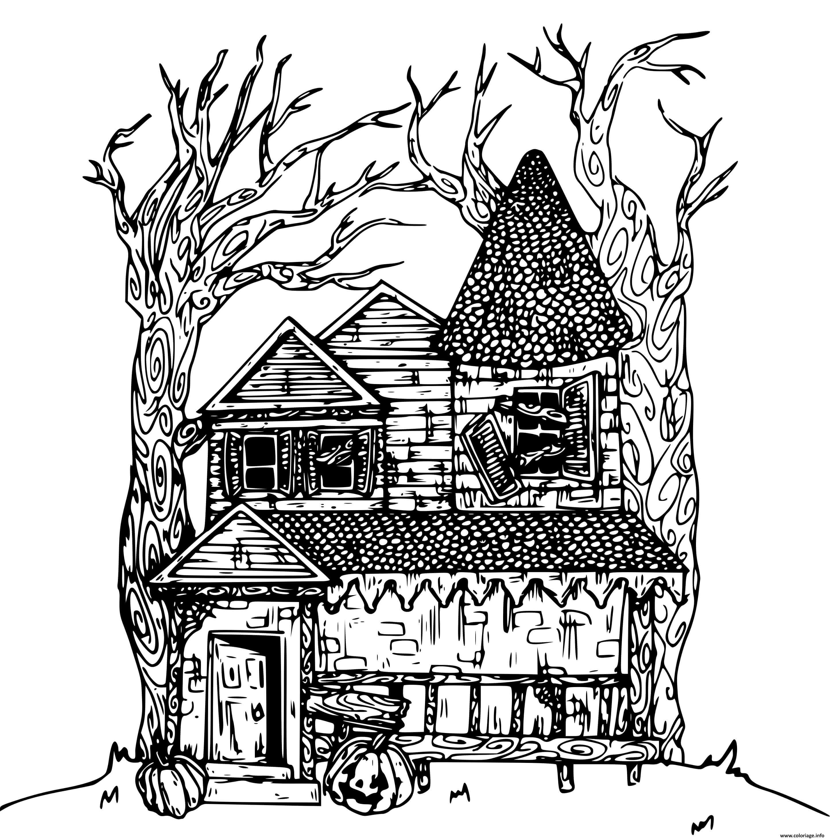 Dessin maison hantee qui heberge des esprits et fantomes Coloriage Gratuit à Imprimer