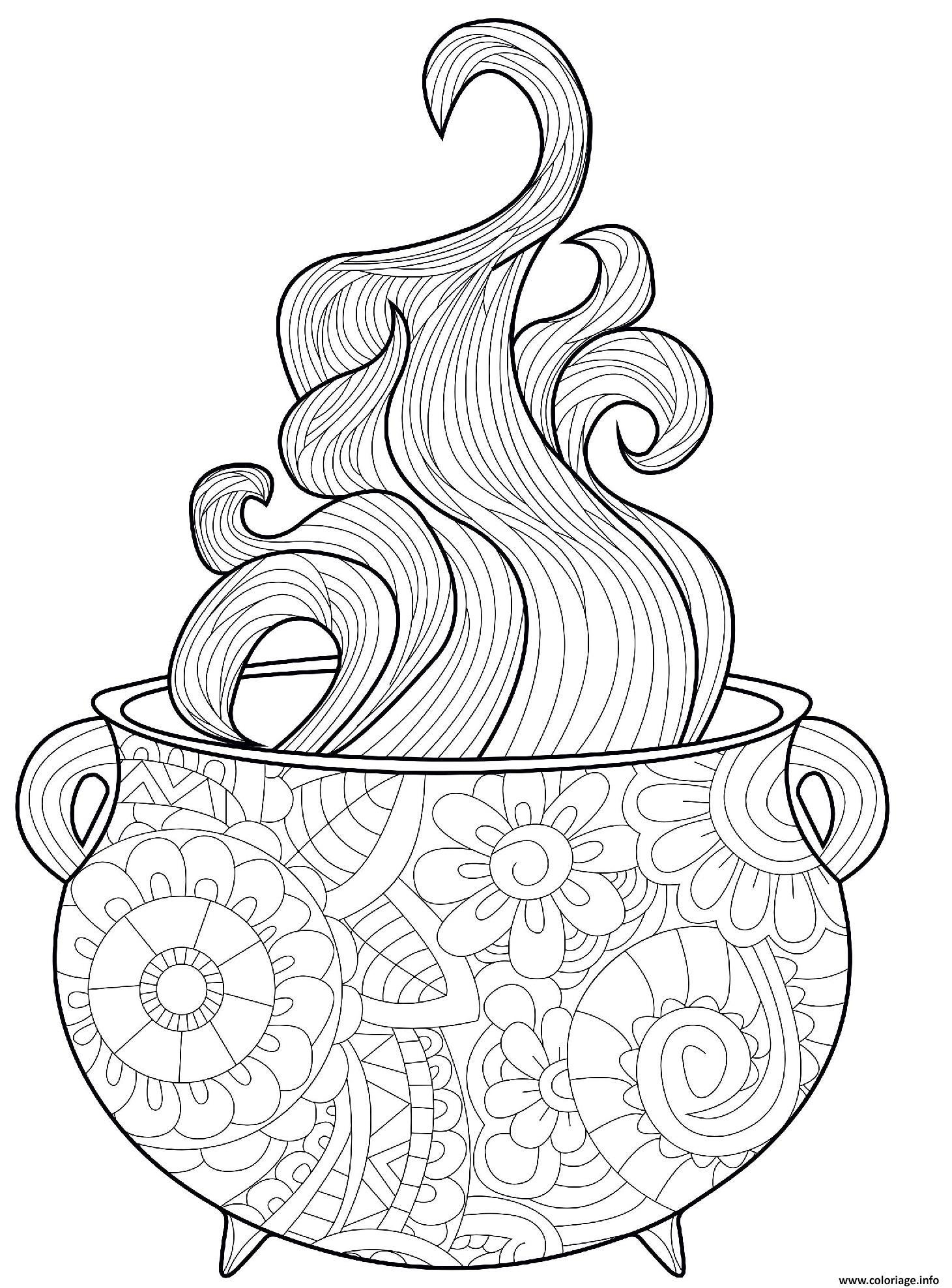 Dessin chaudron halloween complexe avec vapeurs Coloriage Gratuit à Imprimer