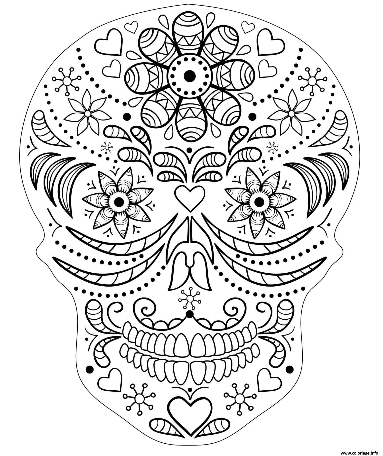 Dessin crane squellette halloween mandala Coloriage Gratuit à Imprimer