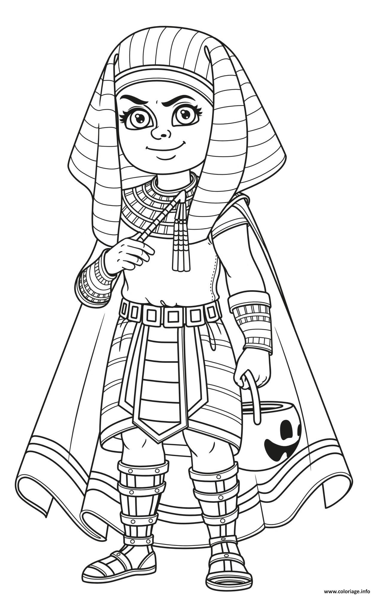 Dessin halloween pharaon garcon costume avec des friandises Coloriage Gratuit à Imprimer