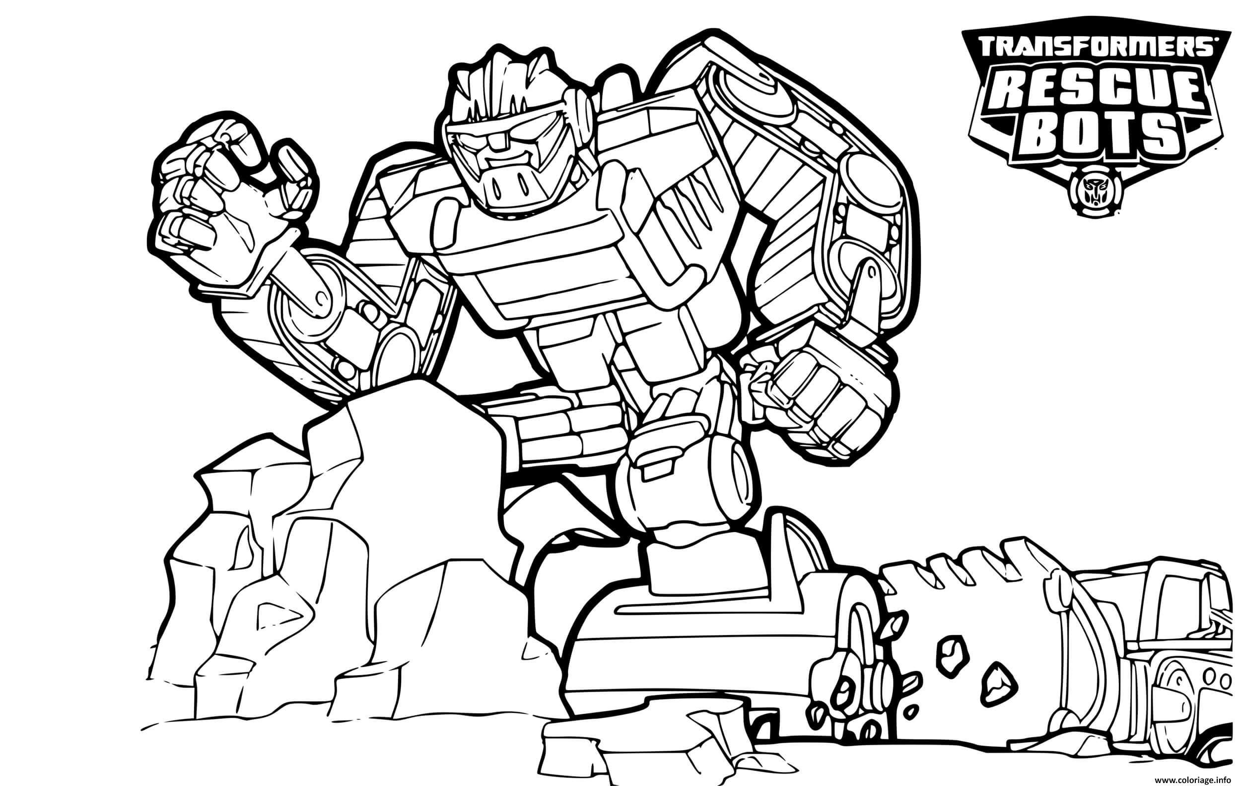 Coloriage Transformers Rescue Bots Boulder Line Drawing Dessin Transformers A Imprimer