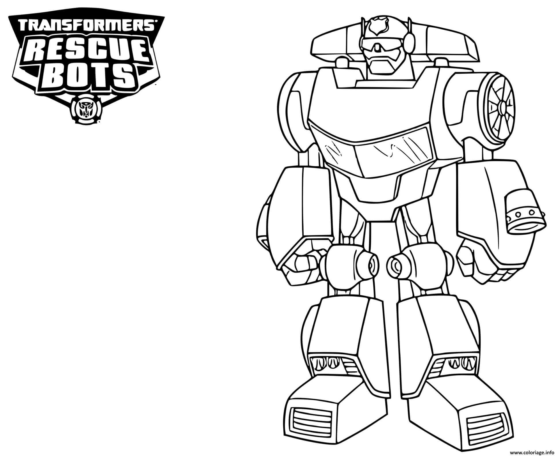 Coloriage Transformers Rescue Bots Chase Dessin ...