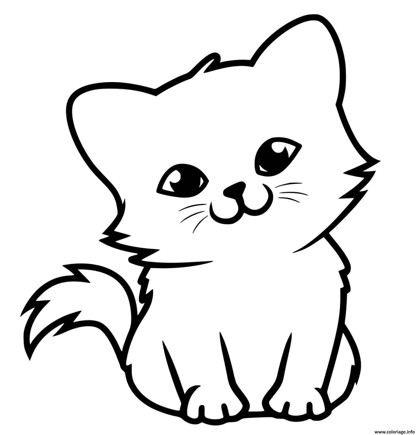 Coloriage Adorable Petit Chaton Dessin Chat à imprimer