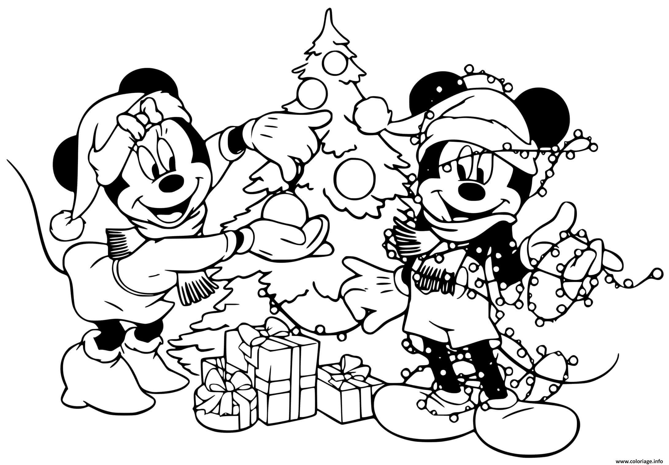 Coloriage Mickey Minnie Decorating Tree Dessin Noel Disney A Imprimer