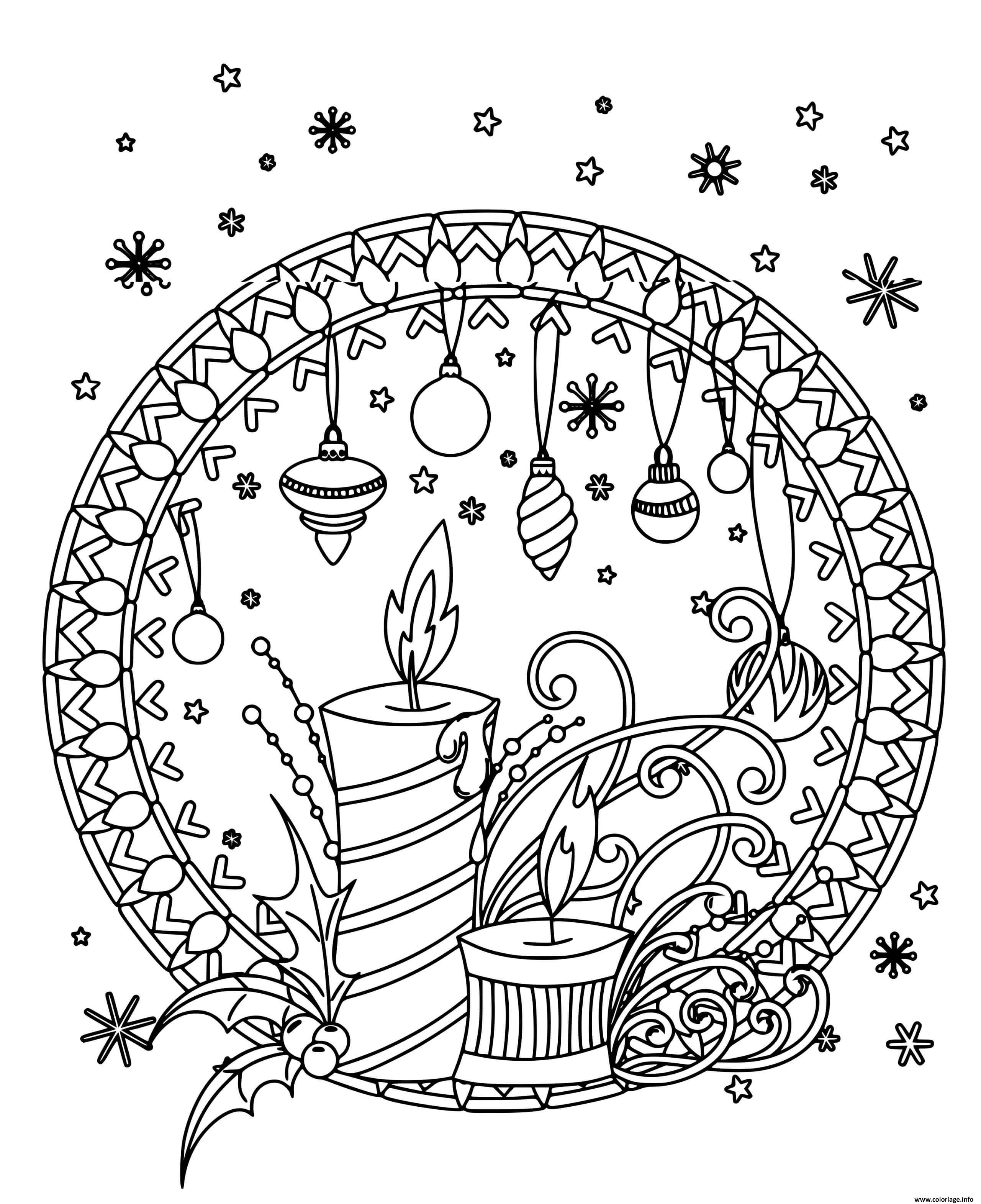 Dessin bougie et decorations de noel mandala Coloriage Gratuit à Imprimer