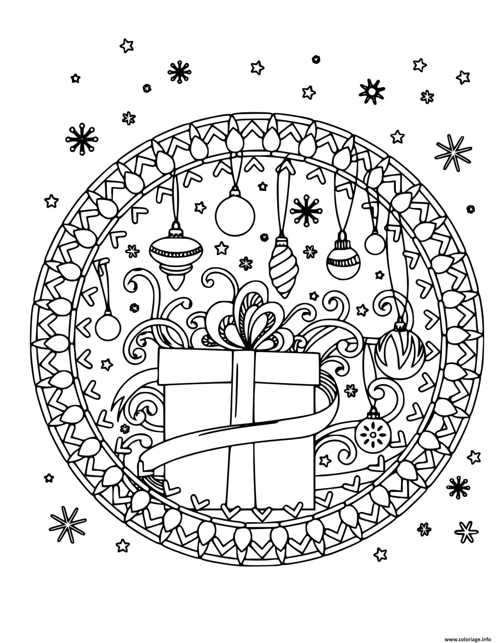 Dessin cadeau flocons de neige et decorations de noel mandala Coloriage Gratuit à Imprimer