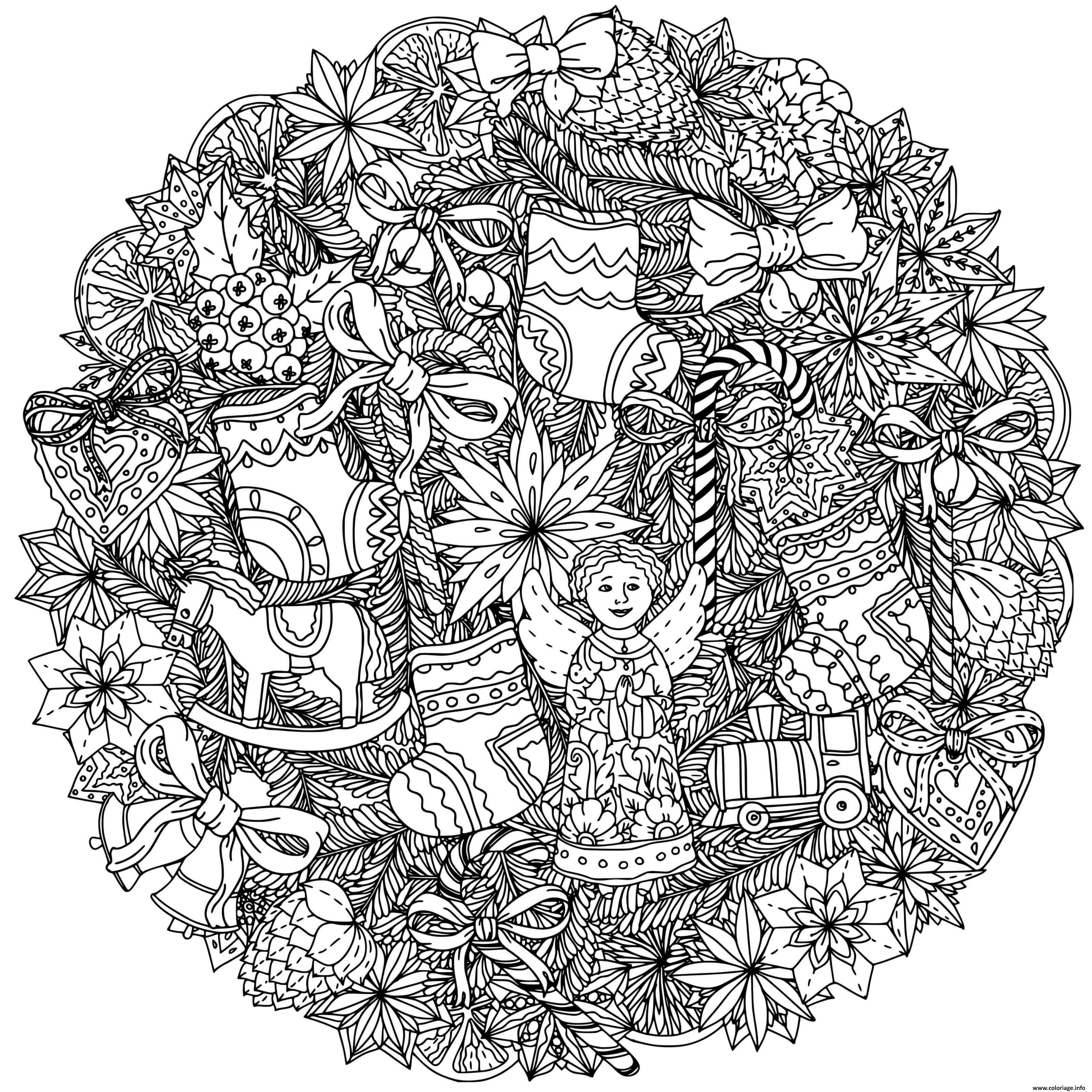 Dessin mandala de noel couronne jouets de noel ange train par mashabr Coloriage Gratuit à Imprimer