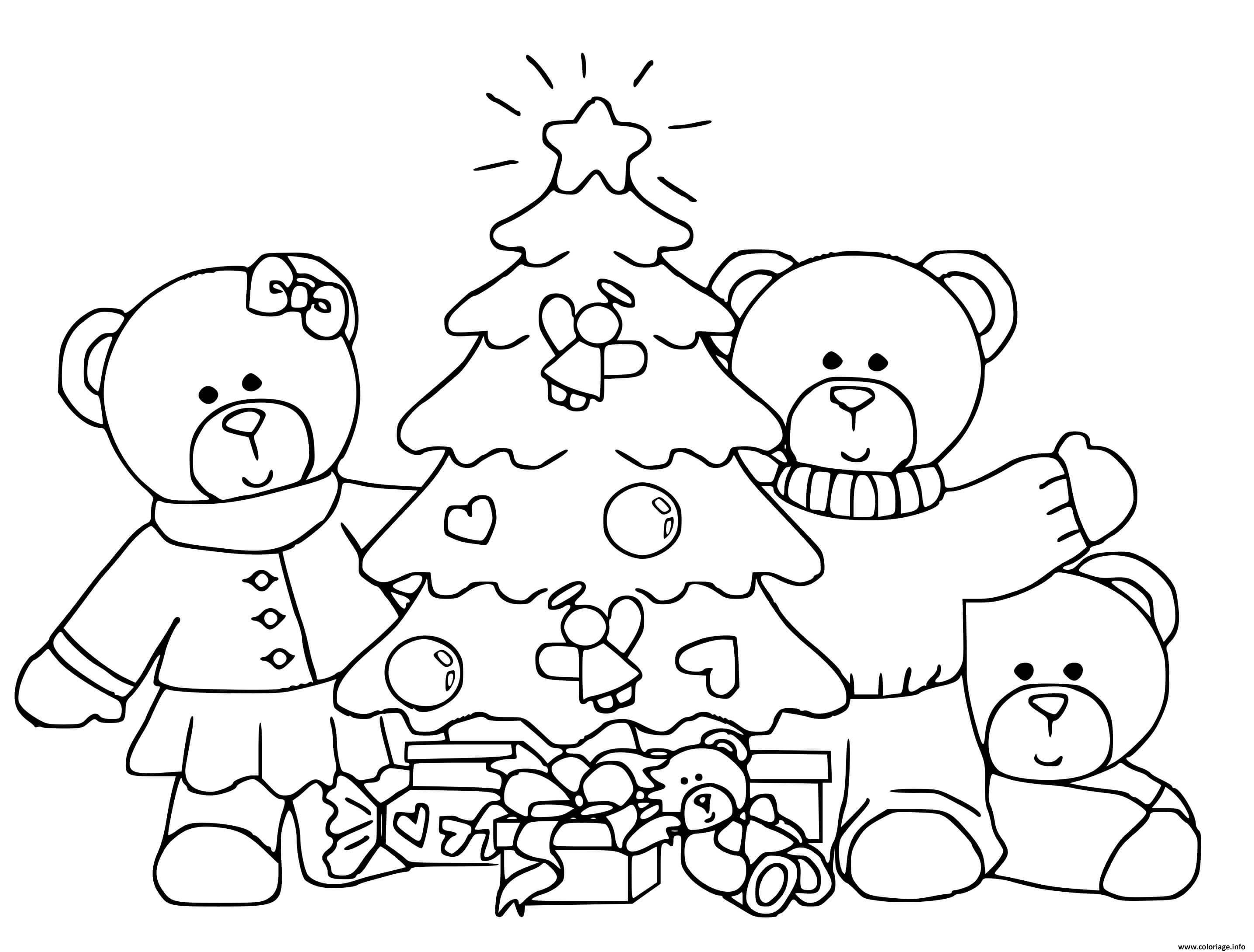 coloriage famille ours autour dun sapin de noel pour