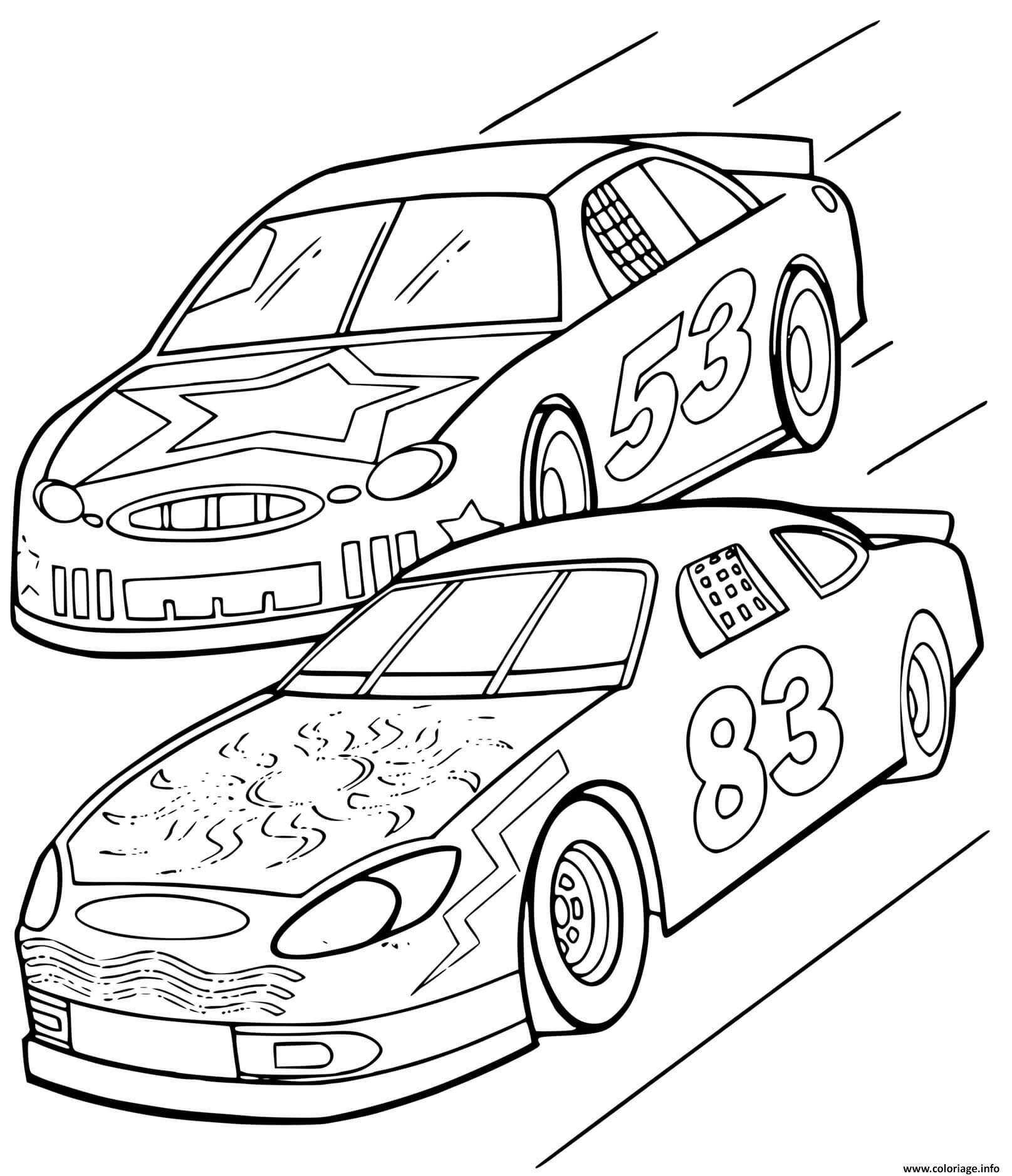 Coloriage Deux Voitures De Course Lors De Circuit Automobile Dessin Voiture De Course à imprimer