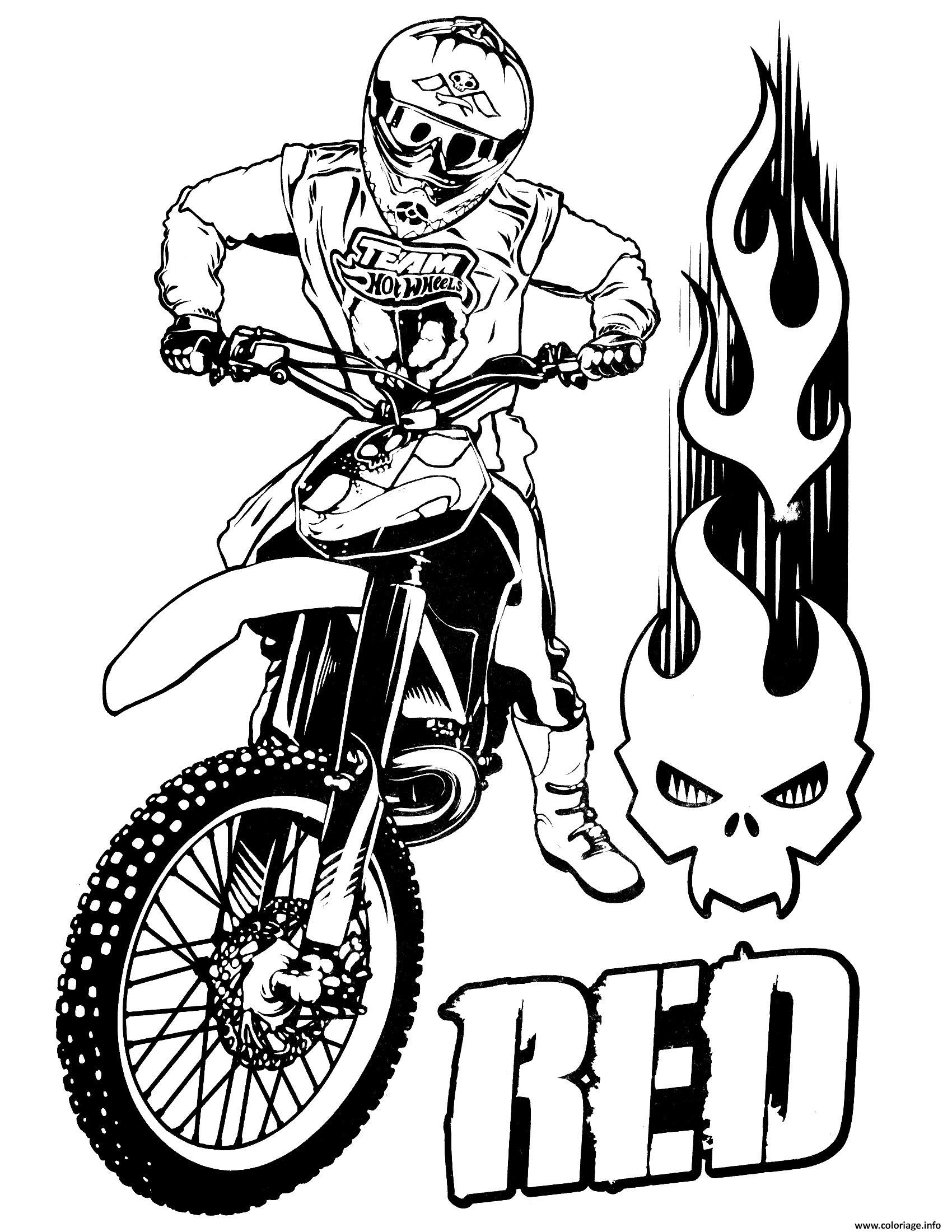 Dessin Hot Wheels Moto cross Coloriage Gratuit à Imprimer