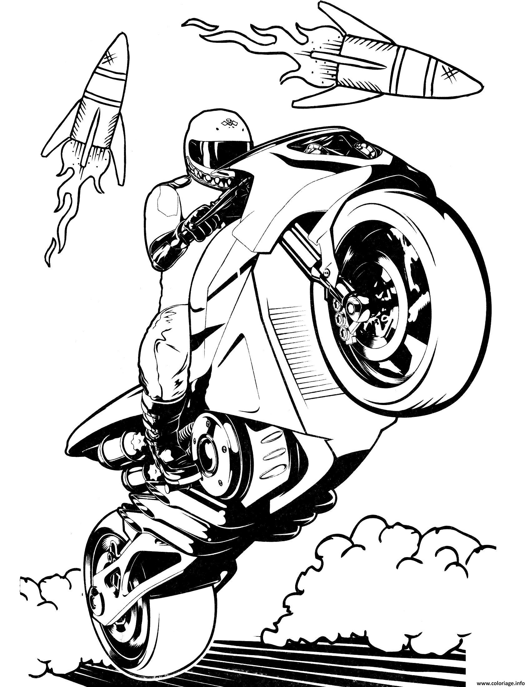Dessin hot wheels motorcycle Coloriage Gratuit à Imprimer