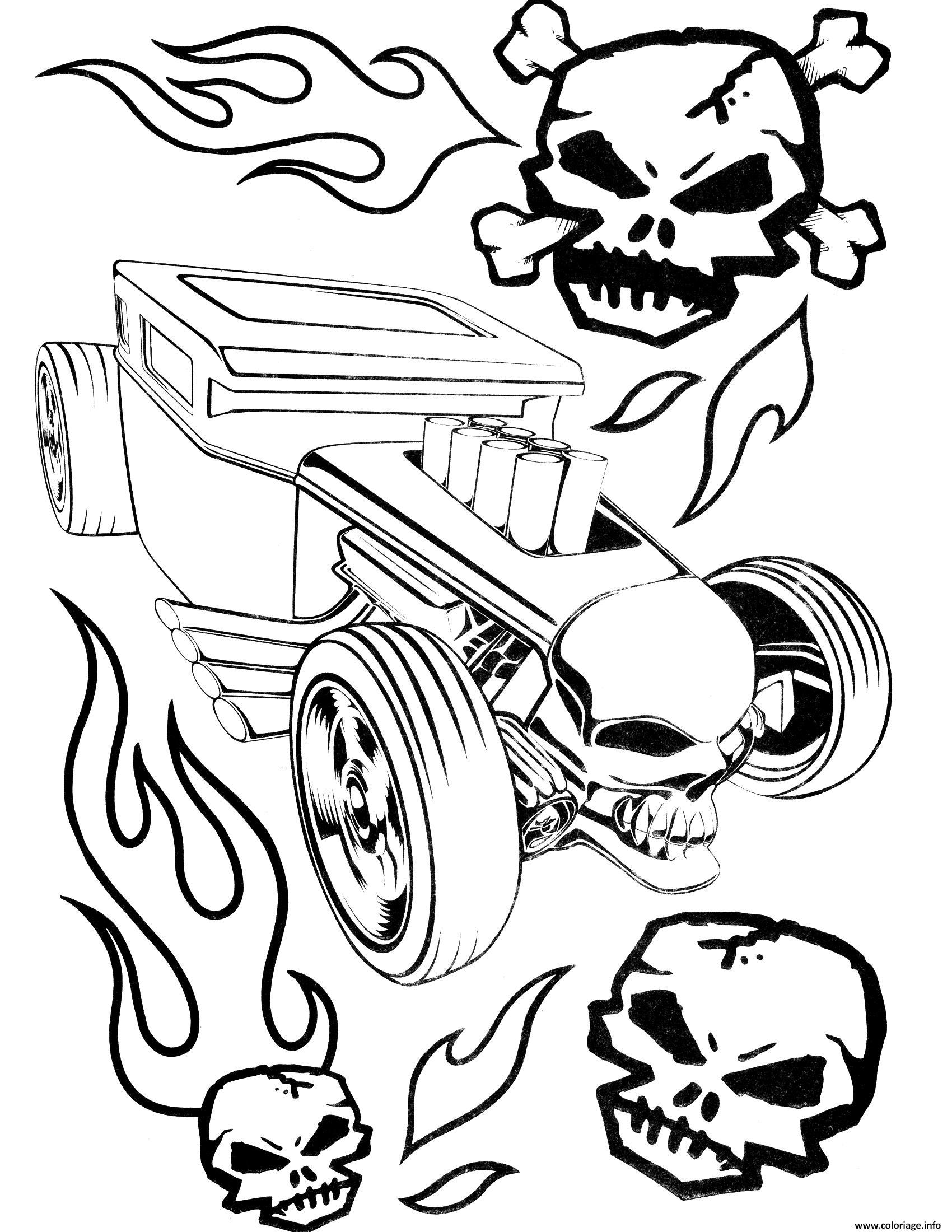 Dessin Hot Wheels Skulls Coloriage Gratuit à Imprimer