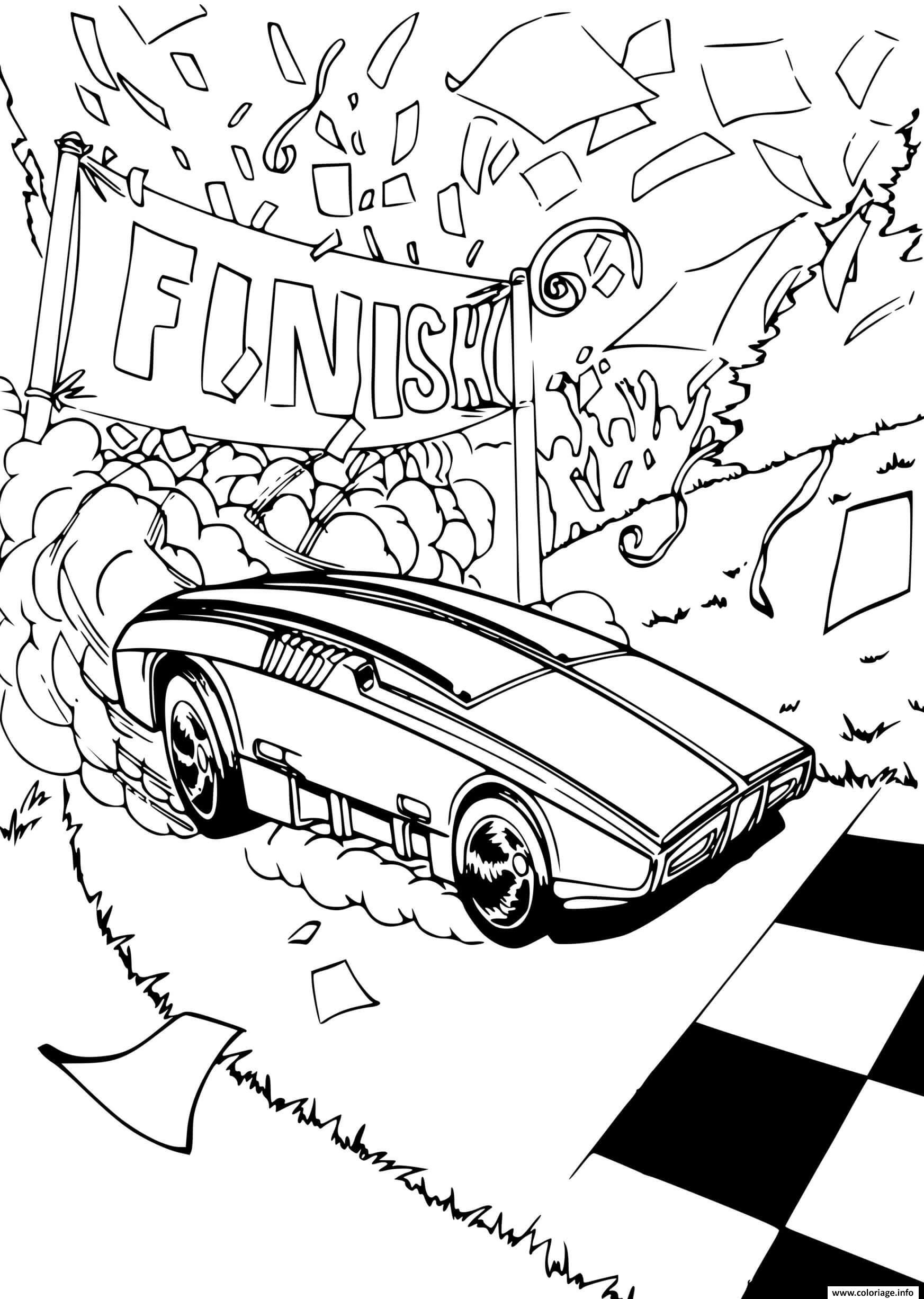 Dessin Hot Wheels voitures Finish Coloriage Gratuit à Imprimer