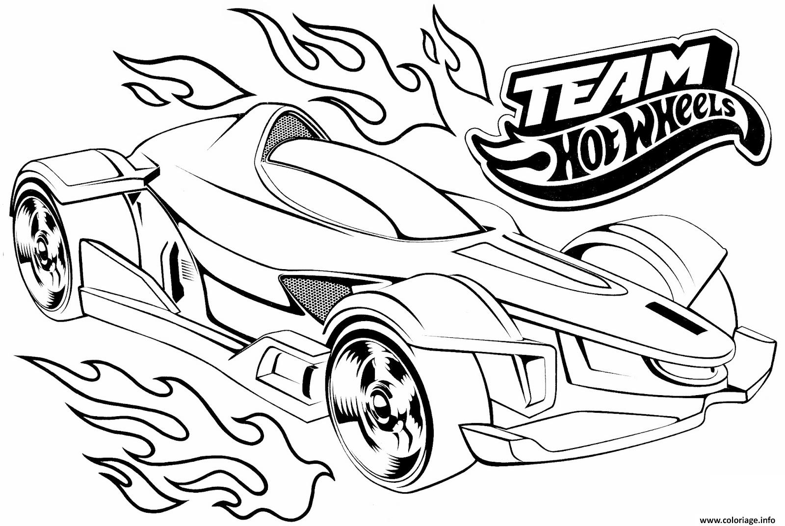 Dessin team hot wheels Coloriage Gratuit à Imprimer