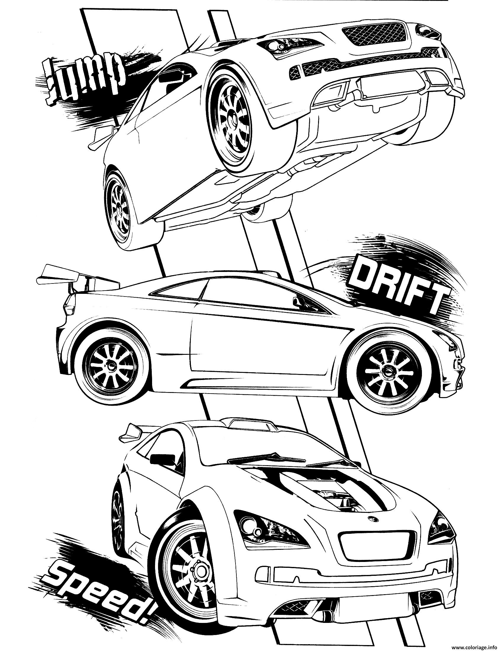 Dessin Jump Drift vitesse with Hotwheels voiture Coloriage Gratuit à Imprimer