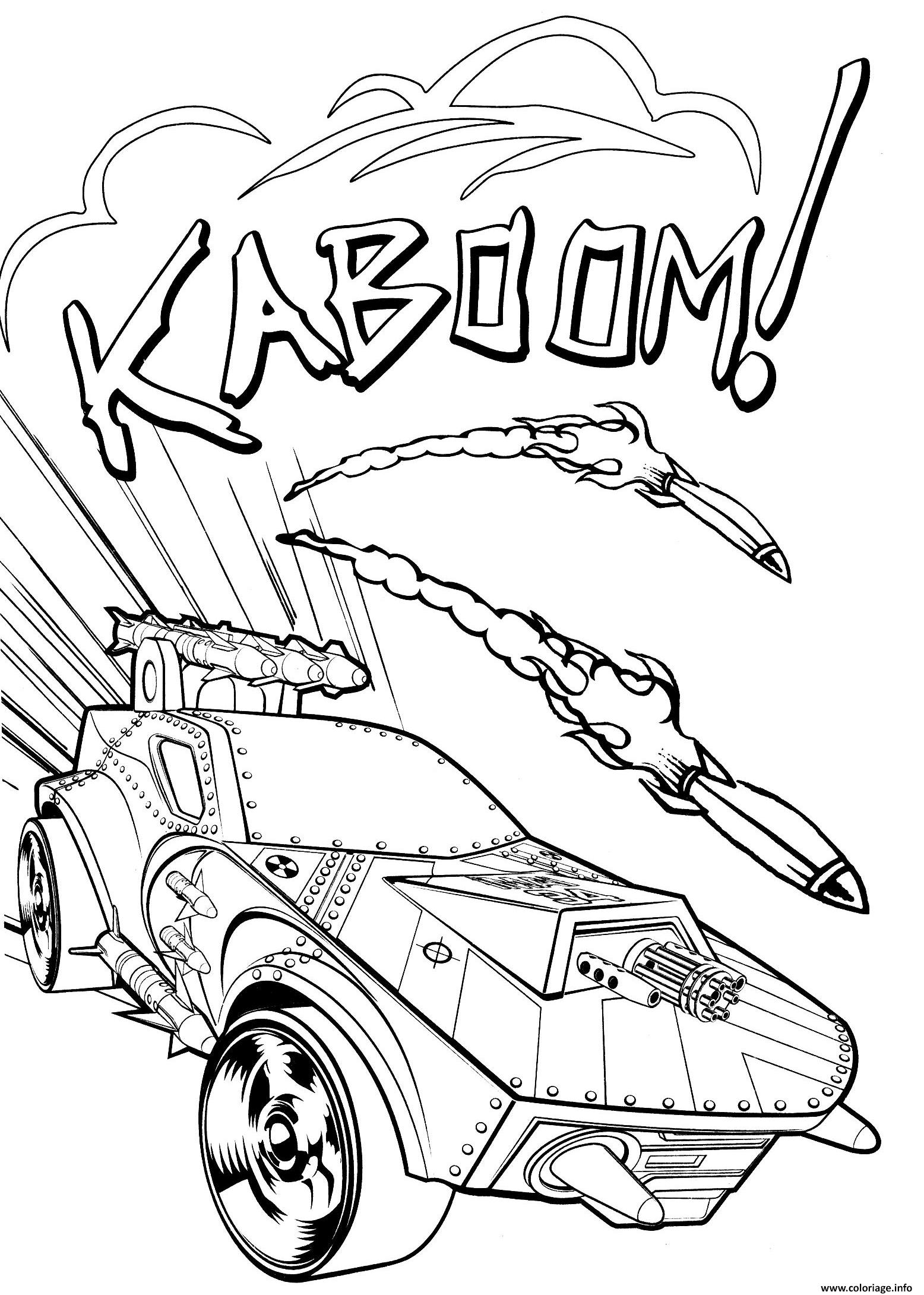 Dessin hot wheels kaboom Coloriage Gratuit à Imprimer