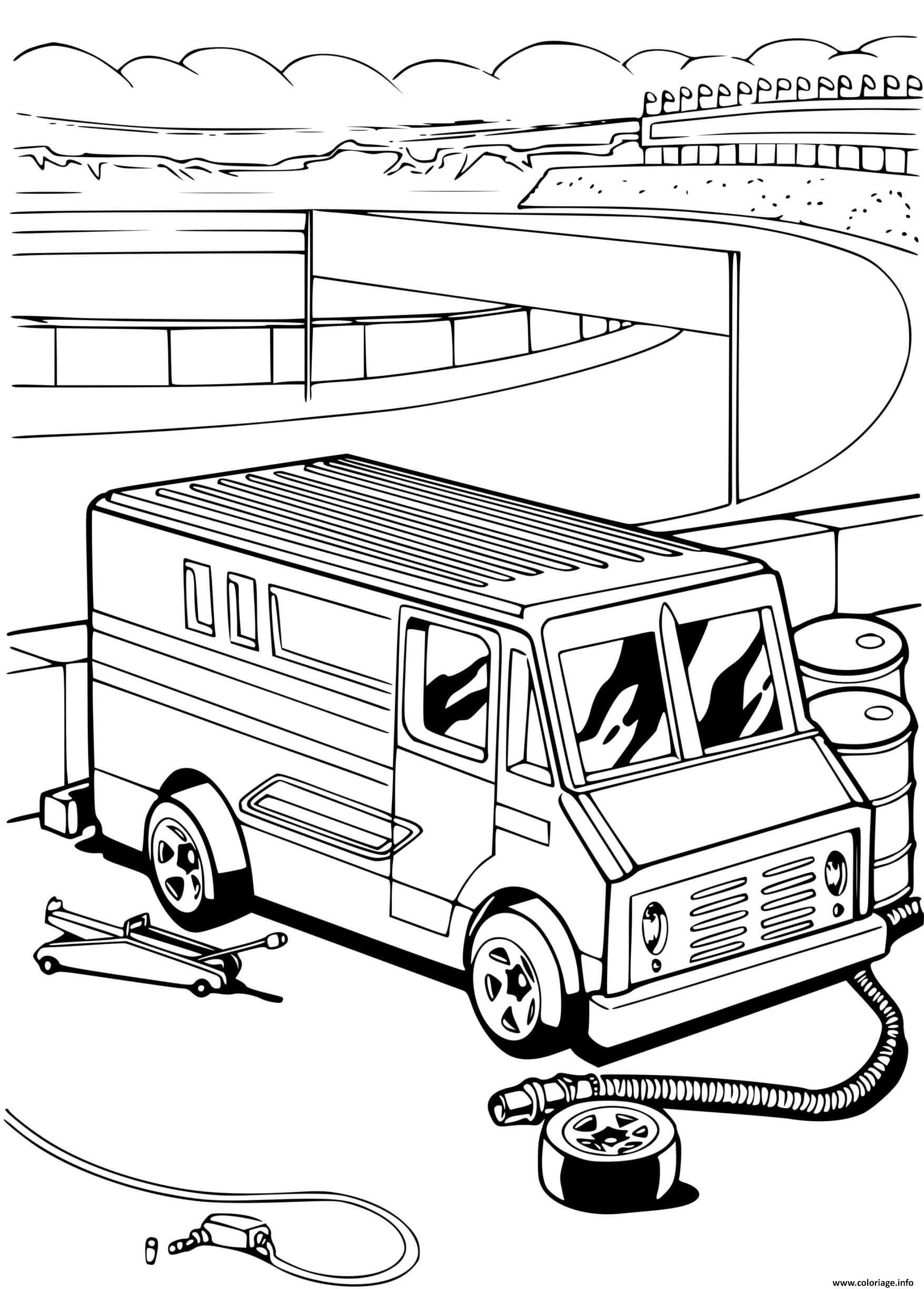 Dessin Hot Wheels Mechanic Repair voiture Coloriage Gratuit à Imprimer