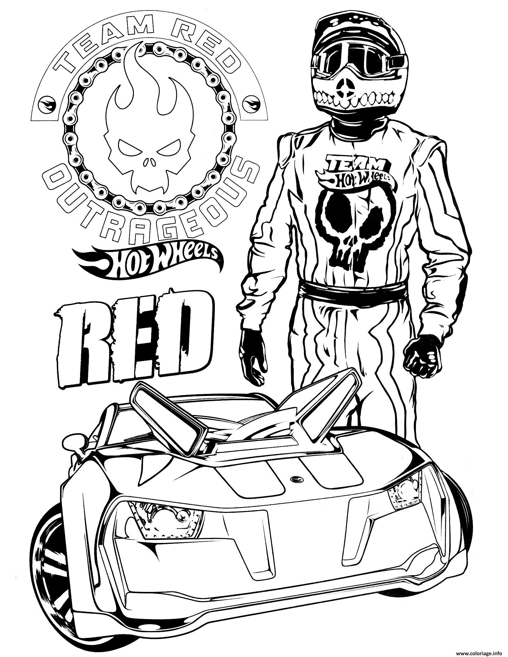 Dessin Team Hot Wheels Red voiture rapide Coloriage Gratuit à Imprimer