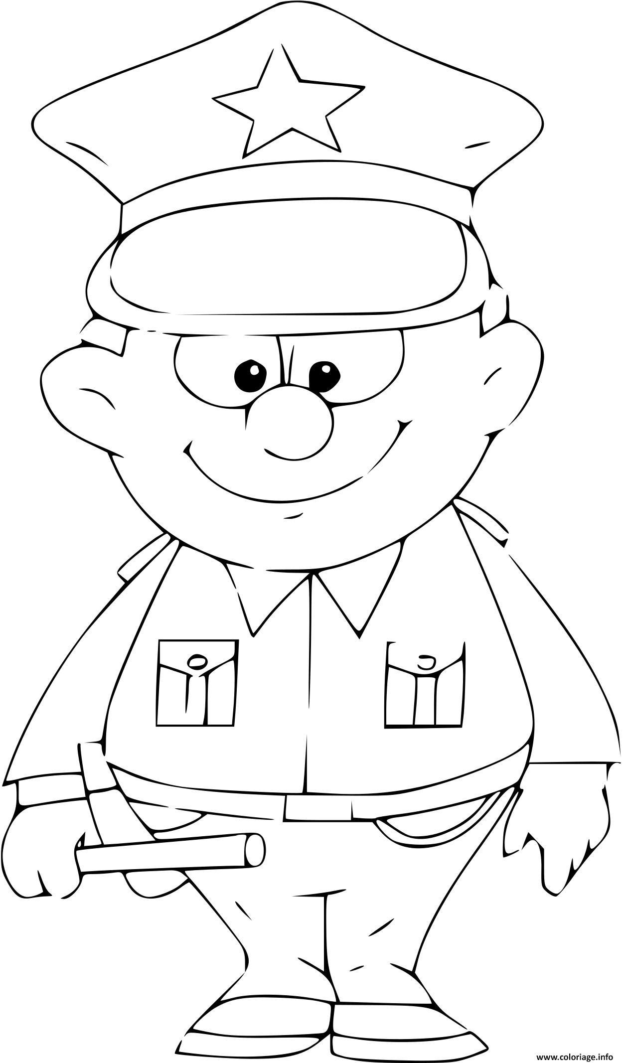 Coloriage Policier En Costume Jecolorie Com