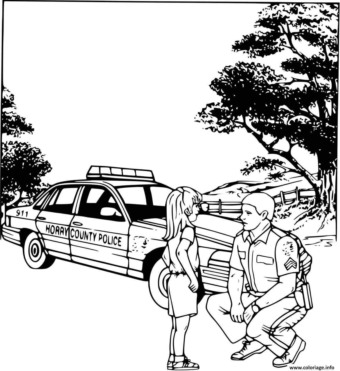 Coloriage Une Fillette Et Un Policier Dessin Police A Imprimer