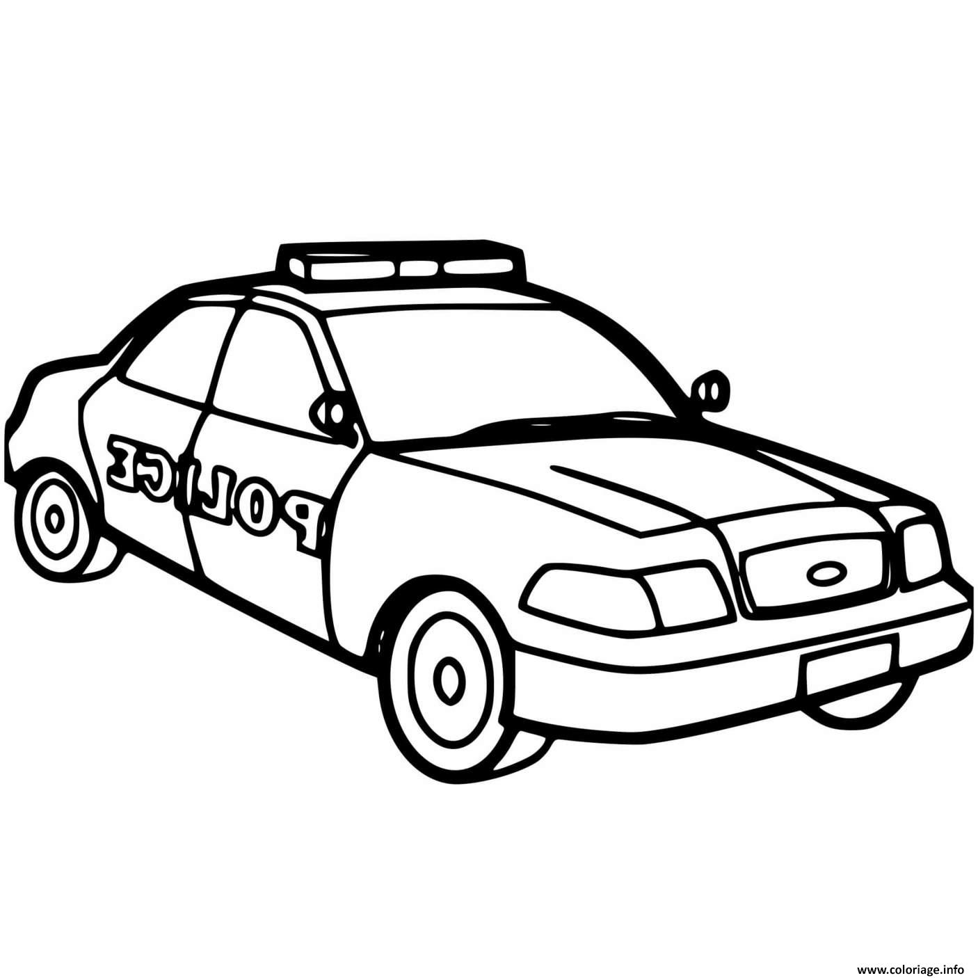 Coloriage Voiture De Police Maternelle Americaine Dessin Police A Imprimer