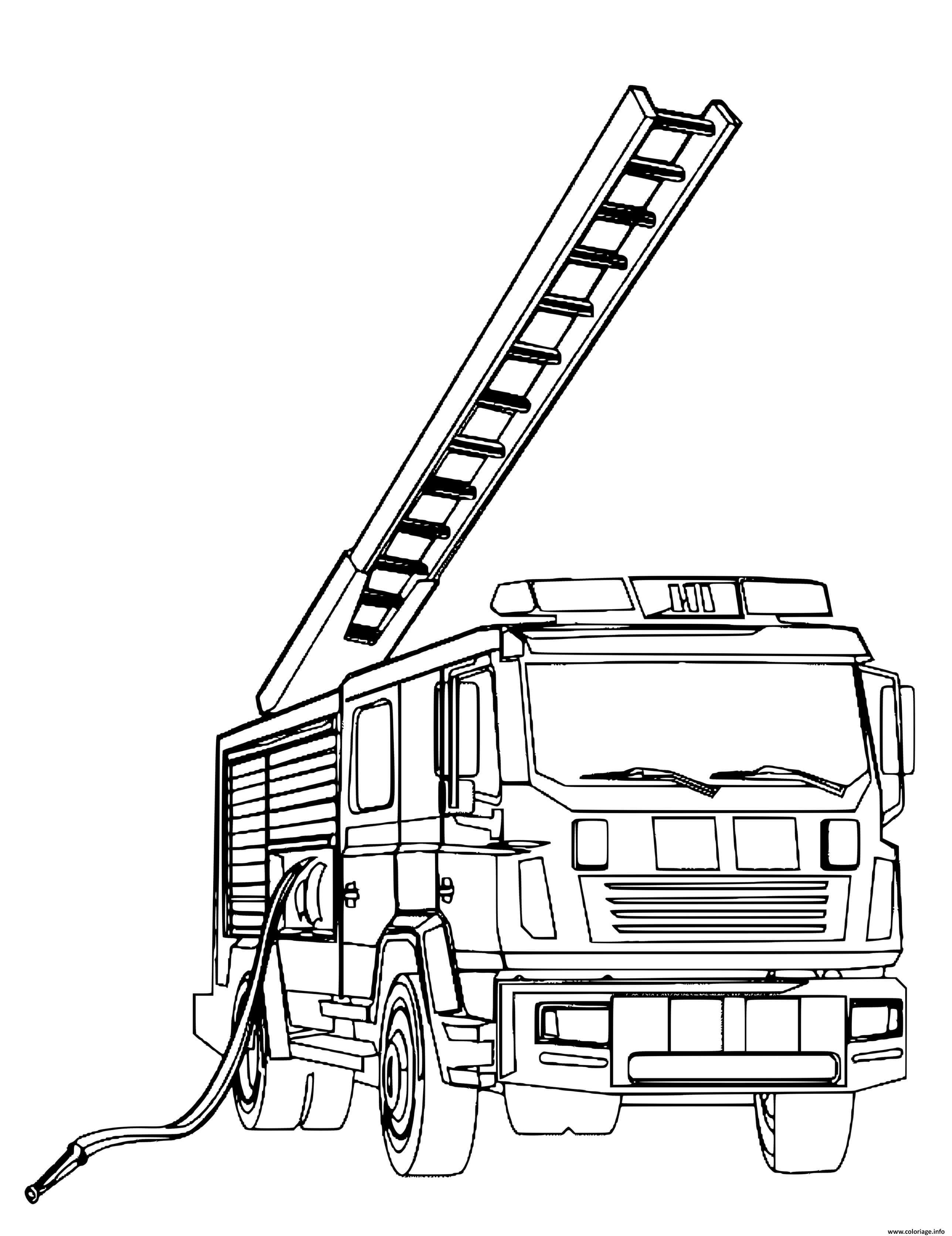 Coloriage Camion De Pompier Avec Une Echelle Dessin Pompier A Imprimer