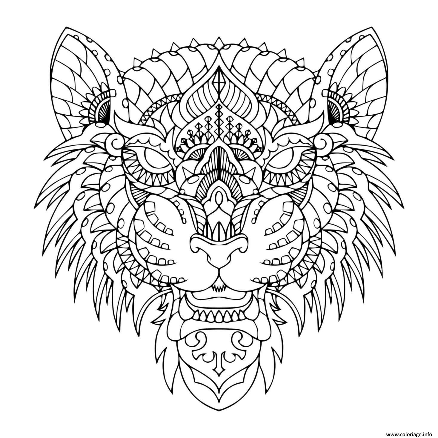 Dessin mandala tigre zen Coloriage Gratuit à Imprimer