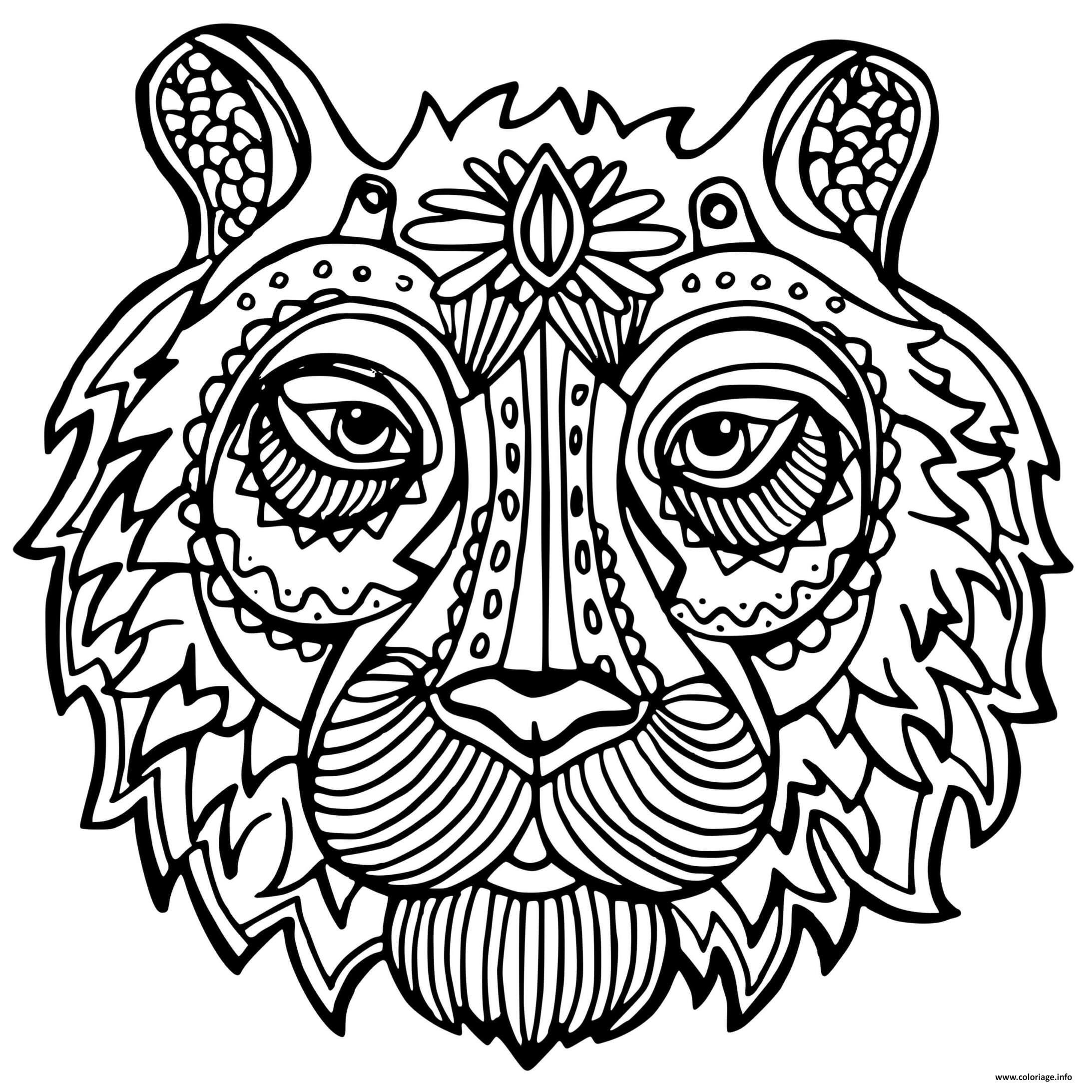 Dessin tigre adulte felin Coloriage Gratuit à Imprimer
