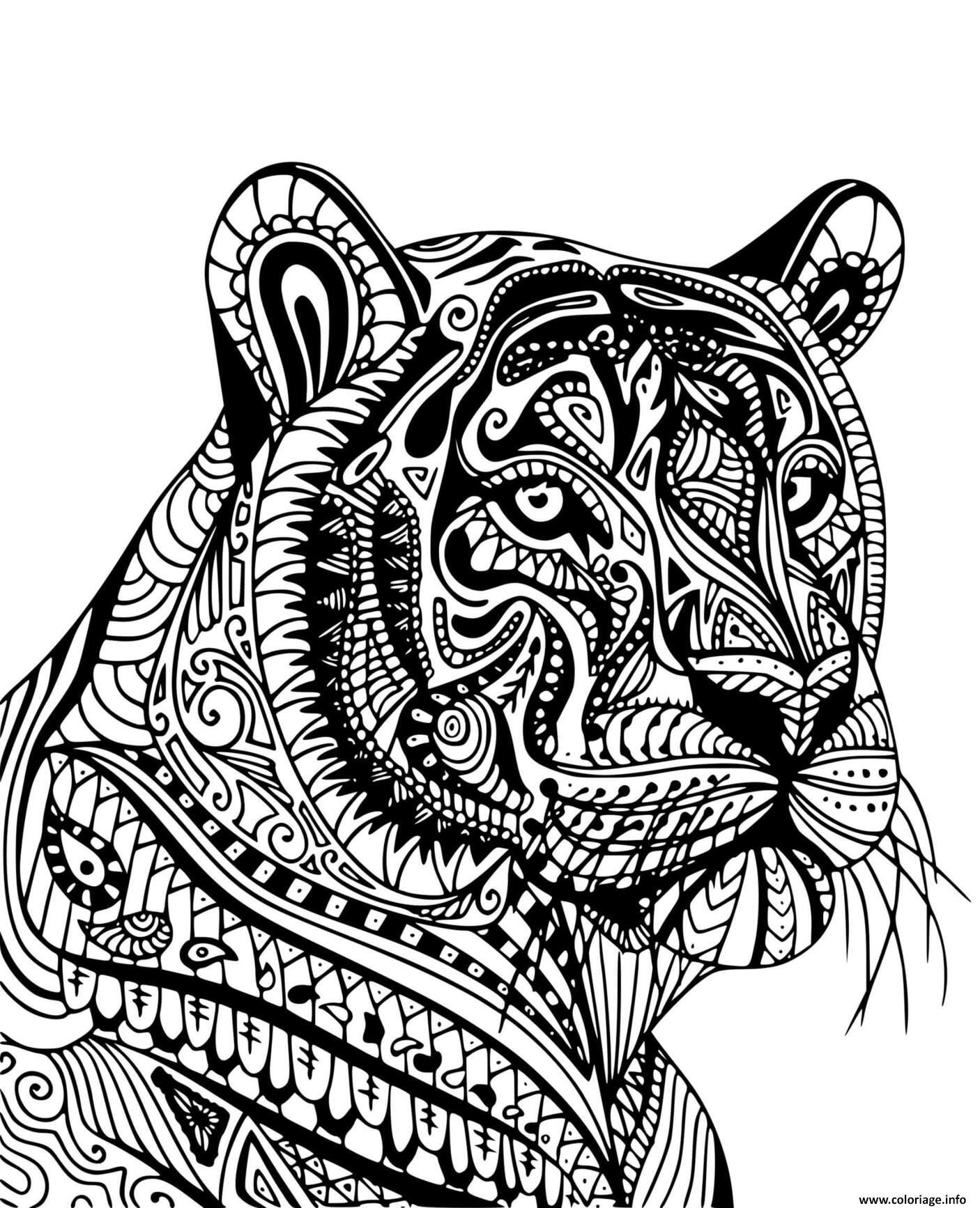Dessin tigre adulte mandala de profil Coloriage Gratuit à Imprimer
