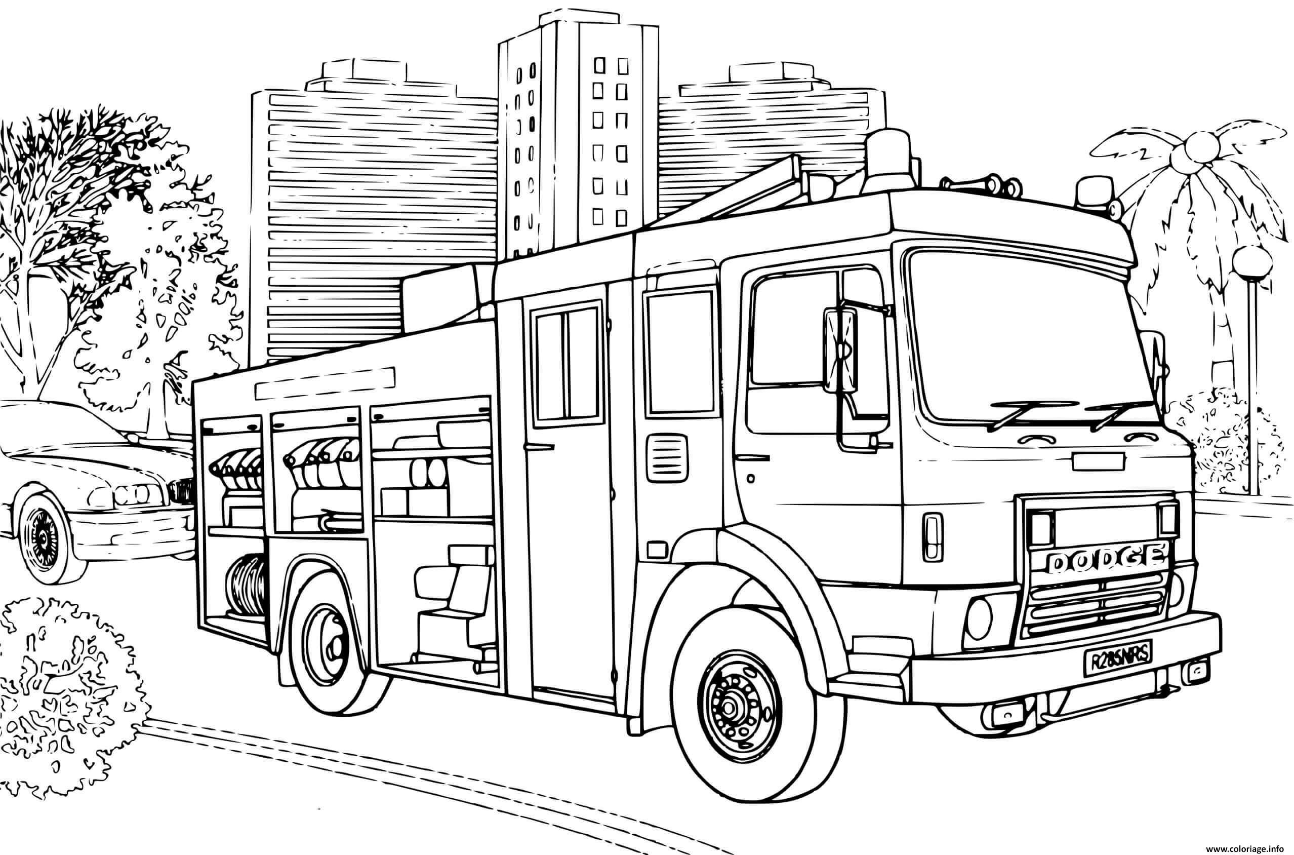 Dessin camion de pompier Dodge Coloriage Gratuit à Imprimer