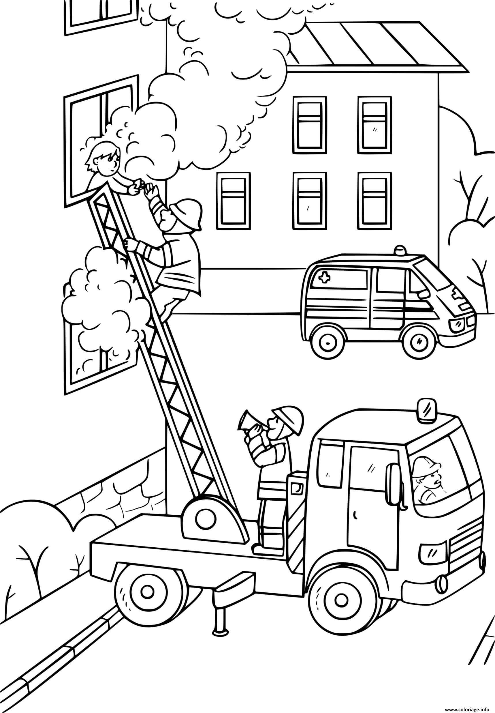 Dessin un pompier grimpe sur une echelle du camion pour sauver une fille prit dans une maison en feu Coloriage Gratuit à Imprimer