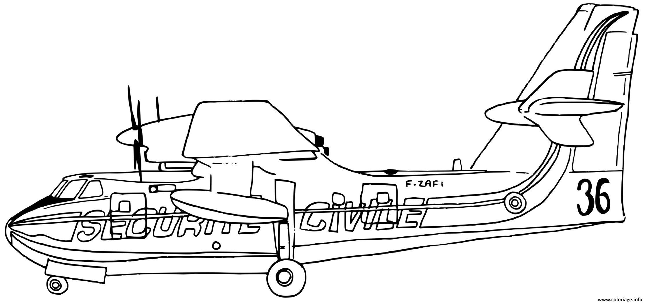 Dessin avion de pompier pour eteindre les feux de montagne Coloriage Gratuit à Imprimer