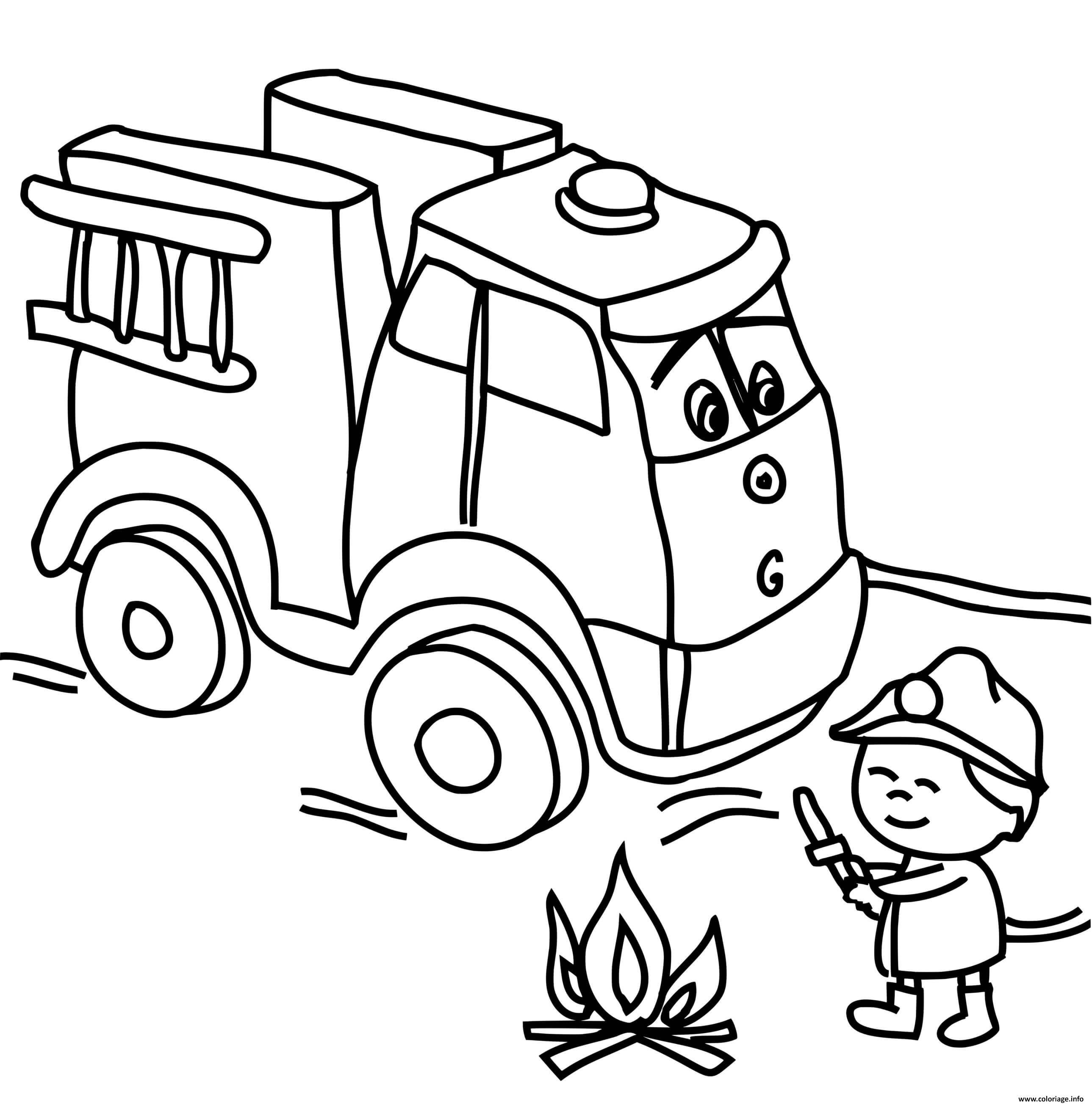 Coloriage camion de pompier avec un enfant de la maternelle qui ...