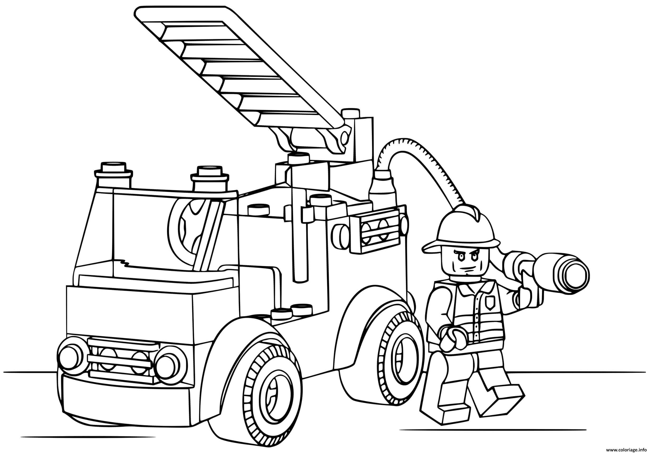 Dessin camion de pompier lego Coloriage Gratuit à Imprimer