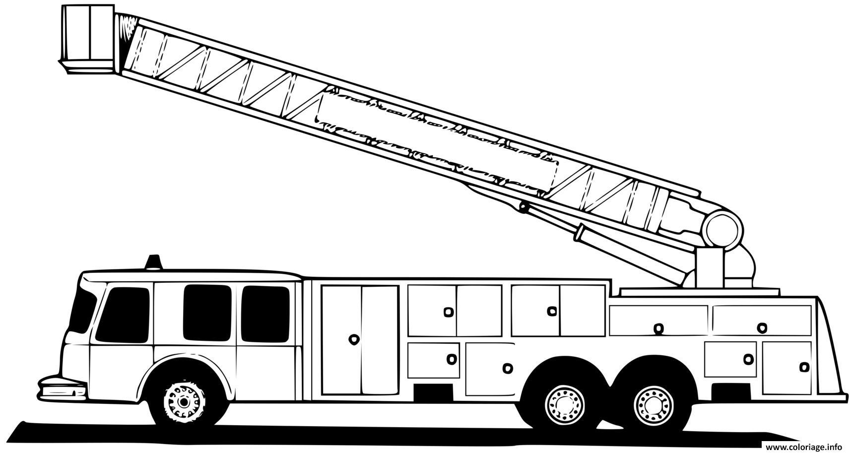 Dessin la grande echelle des pompiers Coloriage Gratuit à Imprimer