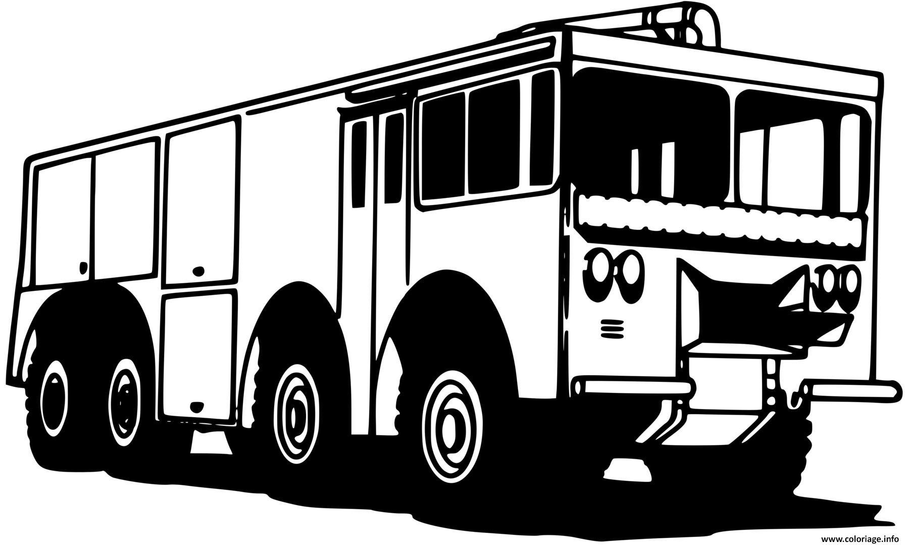 Dessin camion des pompiers Coloriage Gratuit à Imprimer