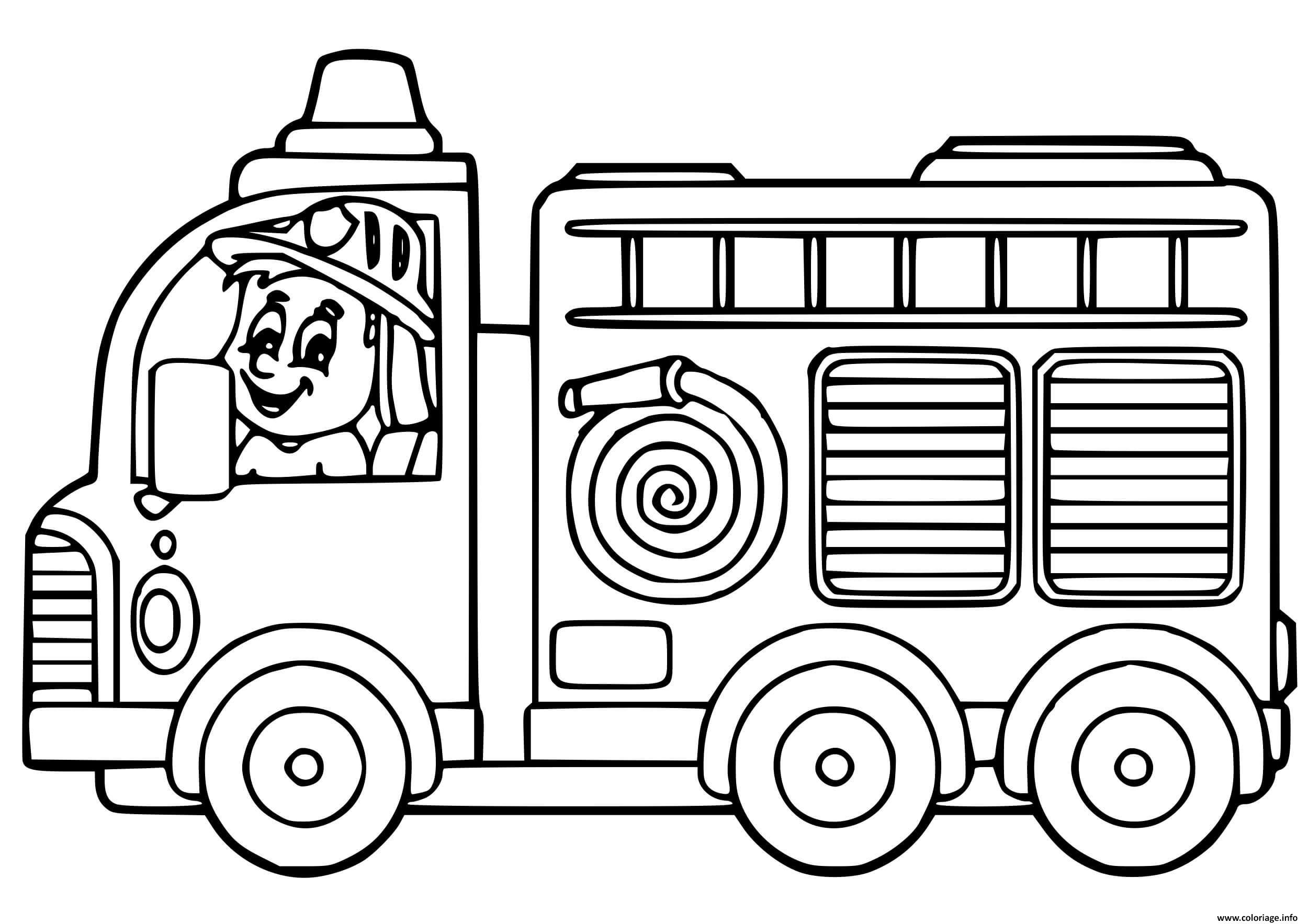 Dessin camion de pompier maternelle facile Coloriage Gratuit à Imprimer