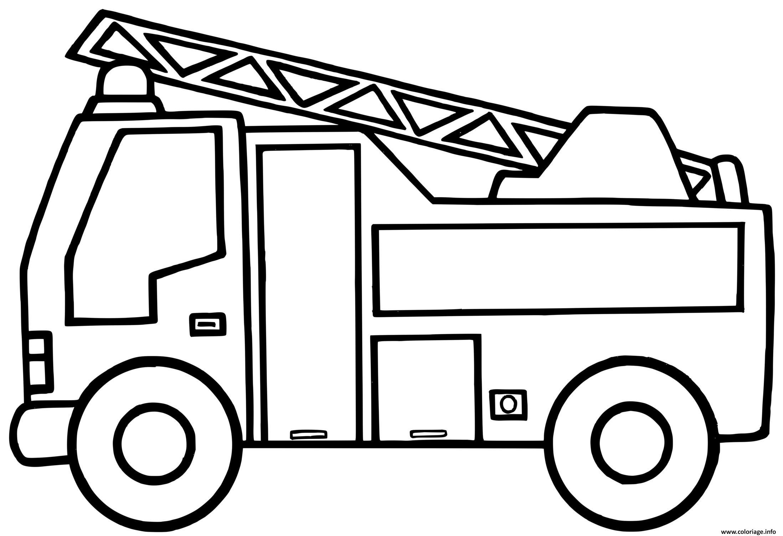 Dessin camion de pompier maternelle Coloriage Gratuit à Imprimer