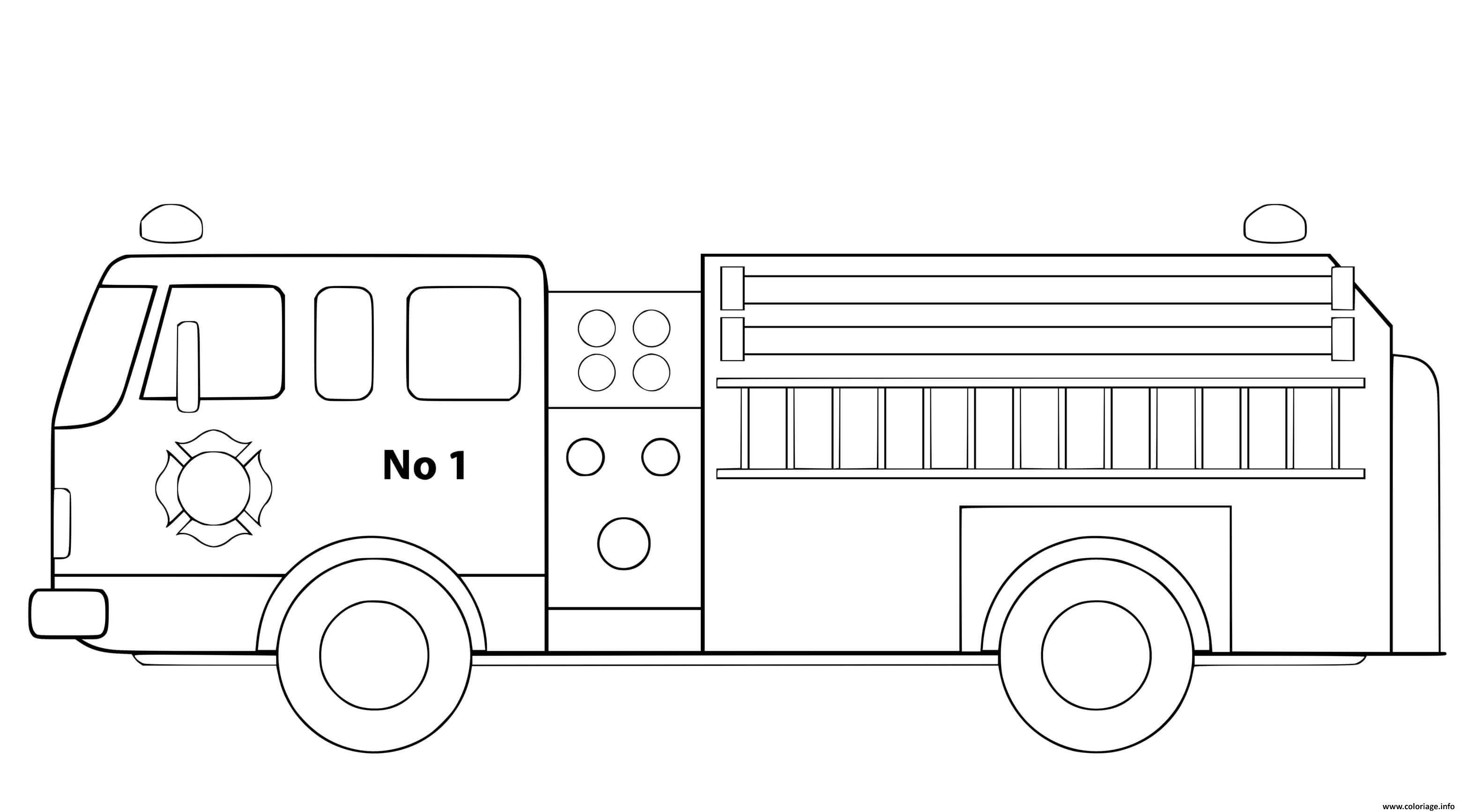 Dessin camion de pompier simple et bien dessine Coloriage Gratuit à Imprimer