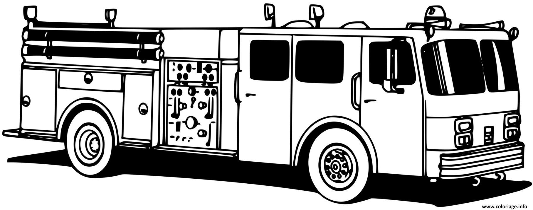 Dessin camion de pompiers Coloriage Gratuit à Imprimer