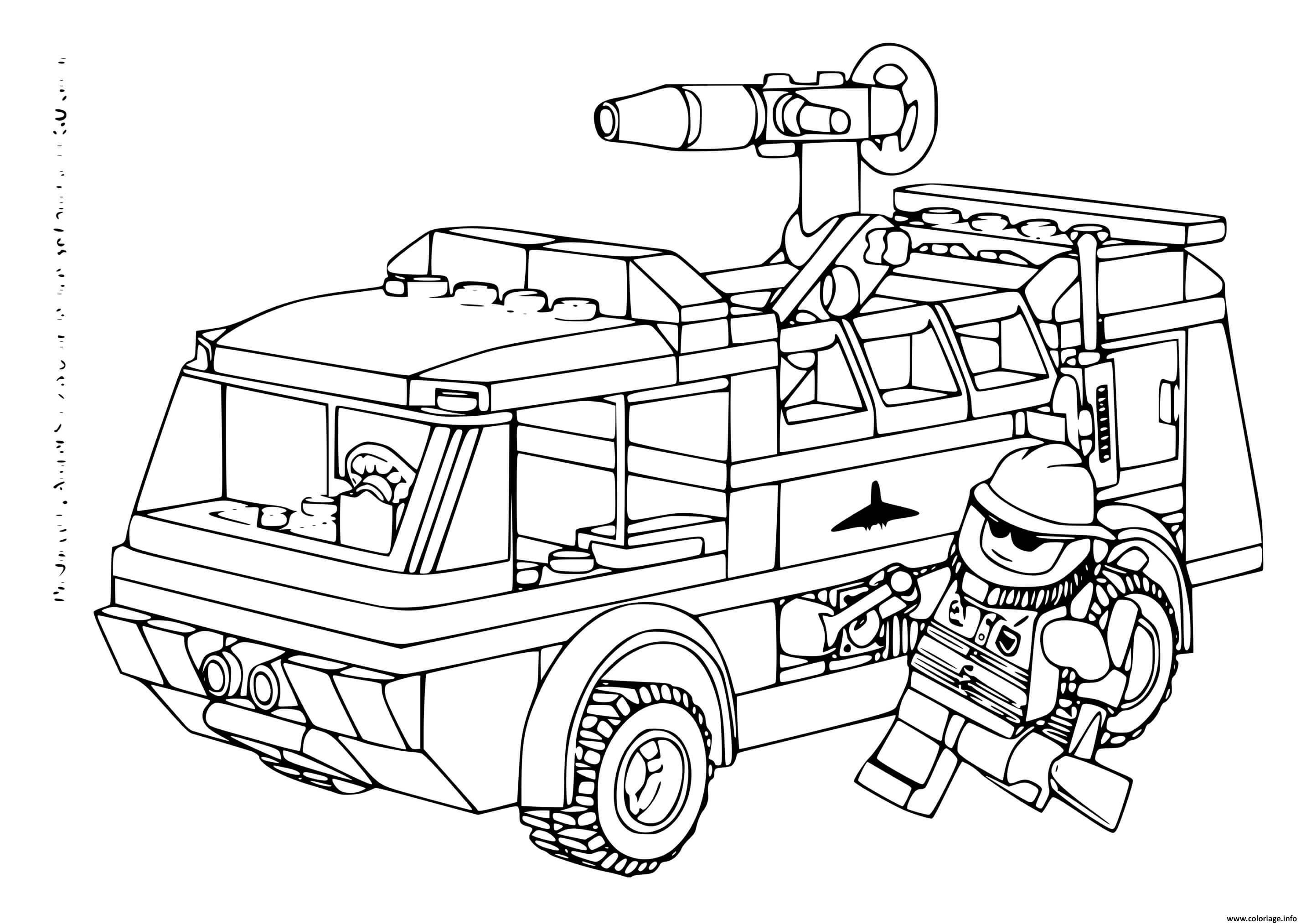 Dessin lego camion de pompiers Coloriage Gratuit à Imprimer